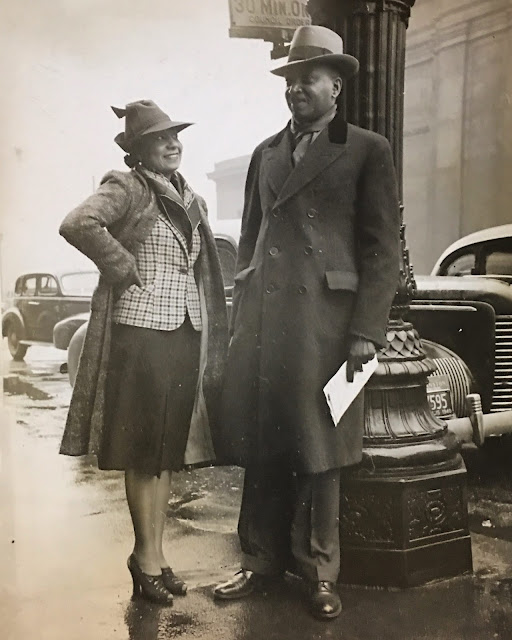 Legendary actress/socialitwe Etta Moten Barnett and husband Claude Barnett, founder of the Associated Negro Press, in a circa 1940s photo that is among historic treasures available in their estate sale being handled by Estate Sale Goddess.