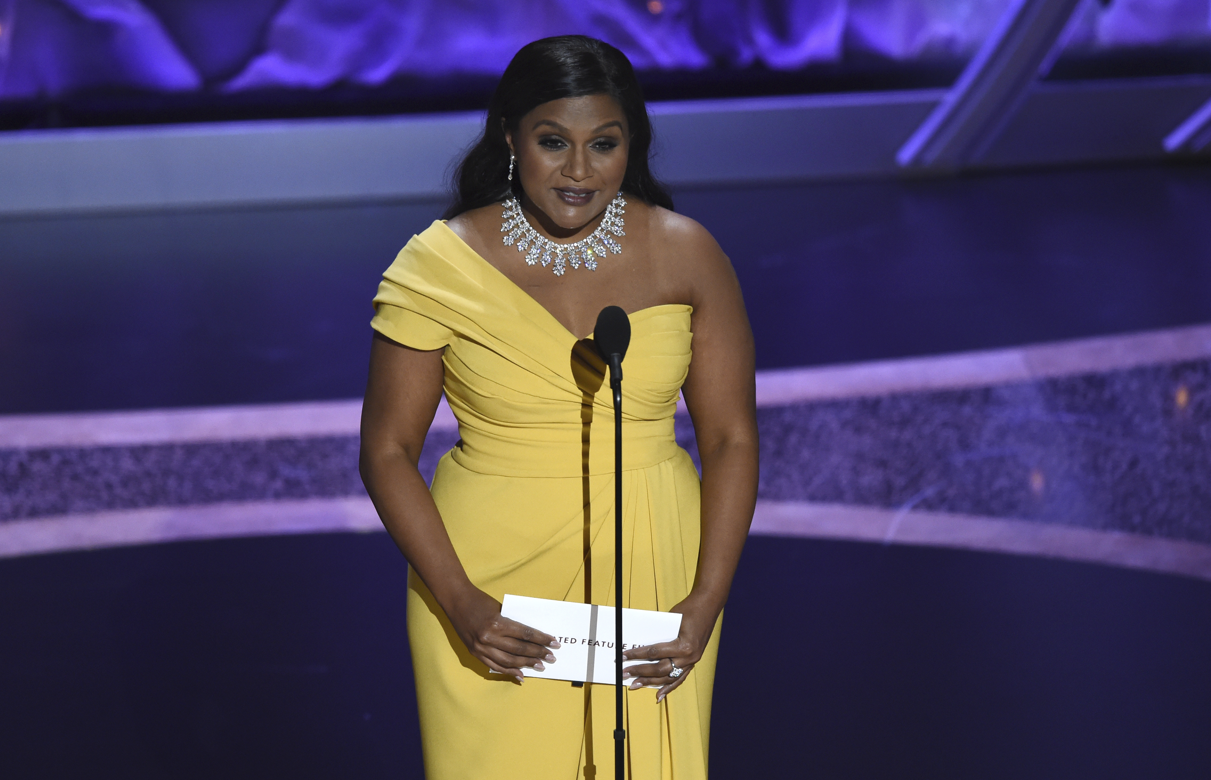 Mindy Kaling presents the award in Los Angeles.