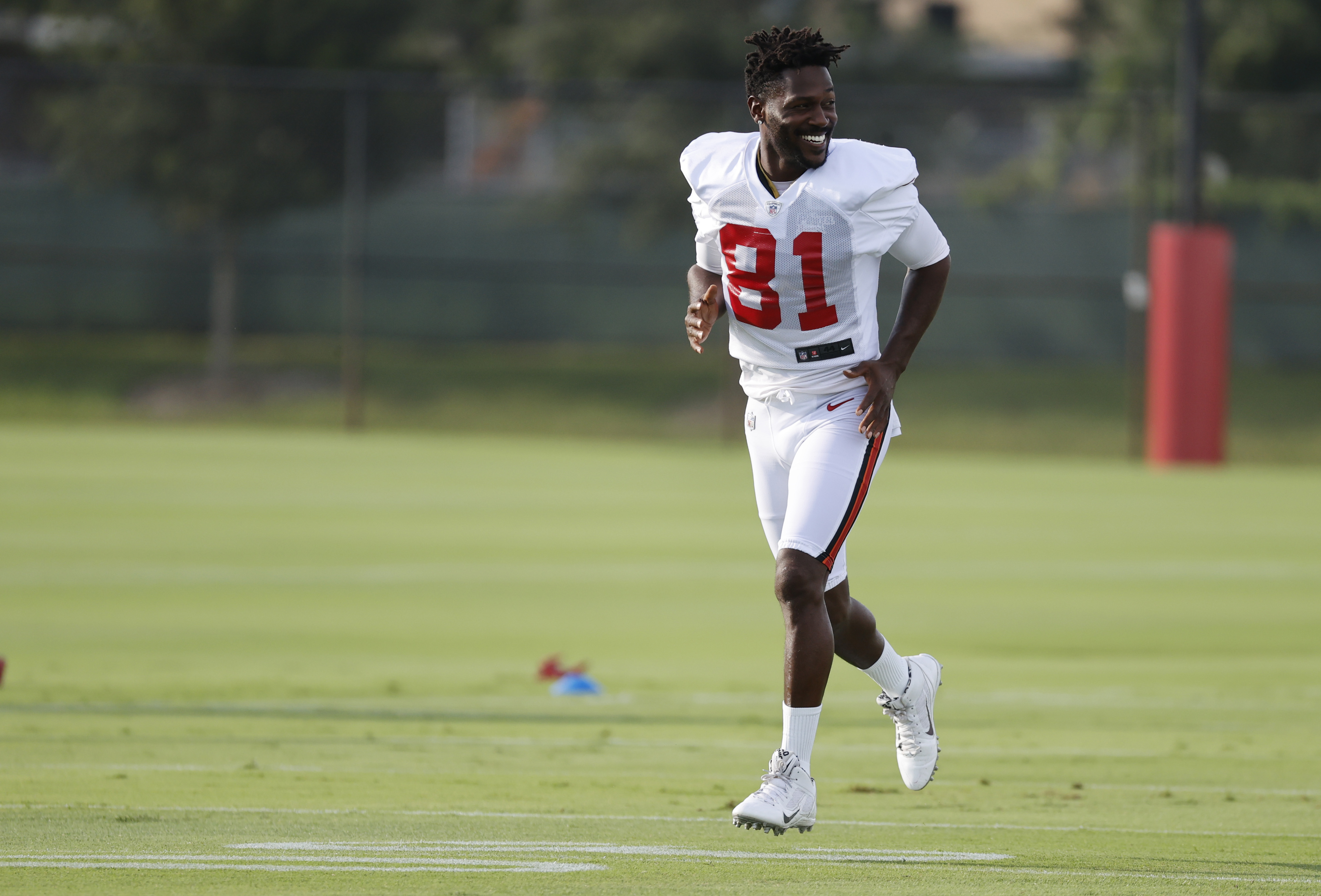 Tampa Bay Buccaneers wide receiver Antonio Brown (81) at AdventHealth Training Center.