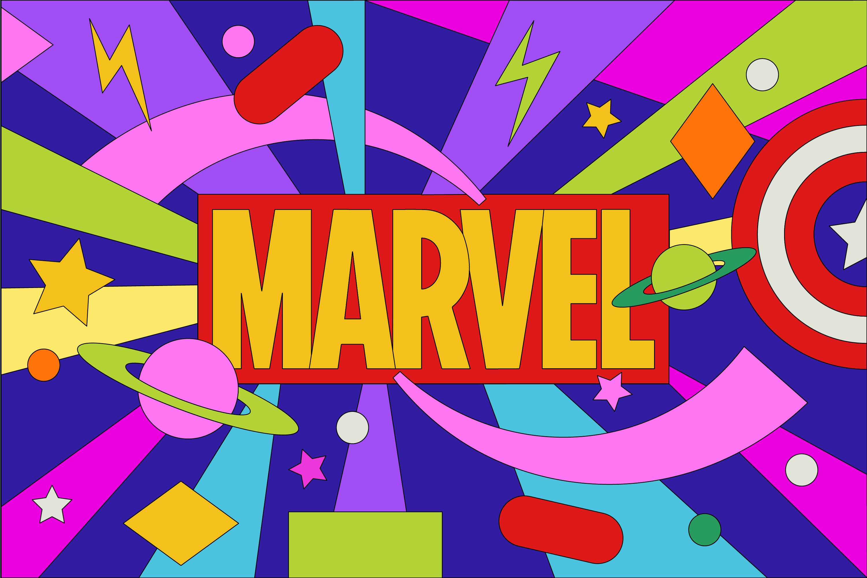 Colorful, graphic illustration of Marvel logo