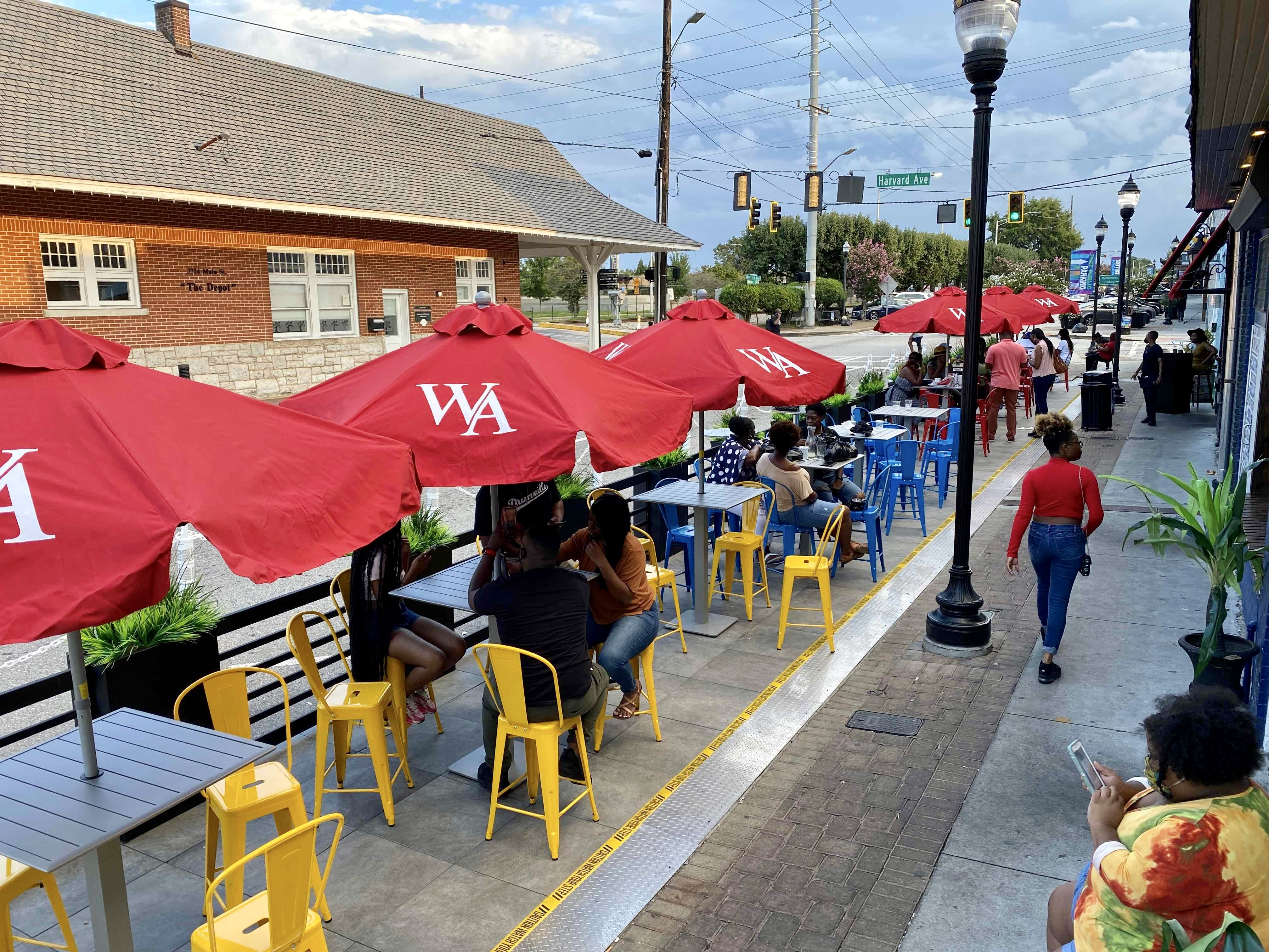 A portion of restaurant row on Main Street in College Park now includes a new outdoor dining parklet.