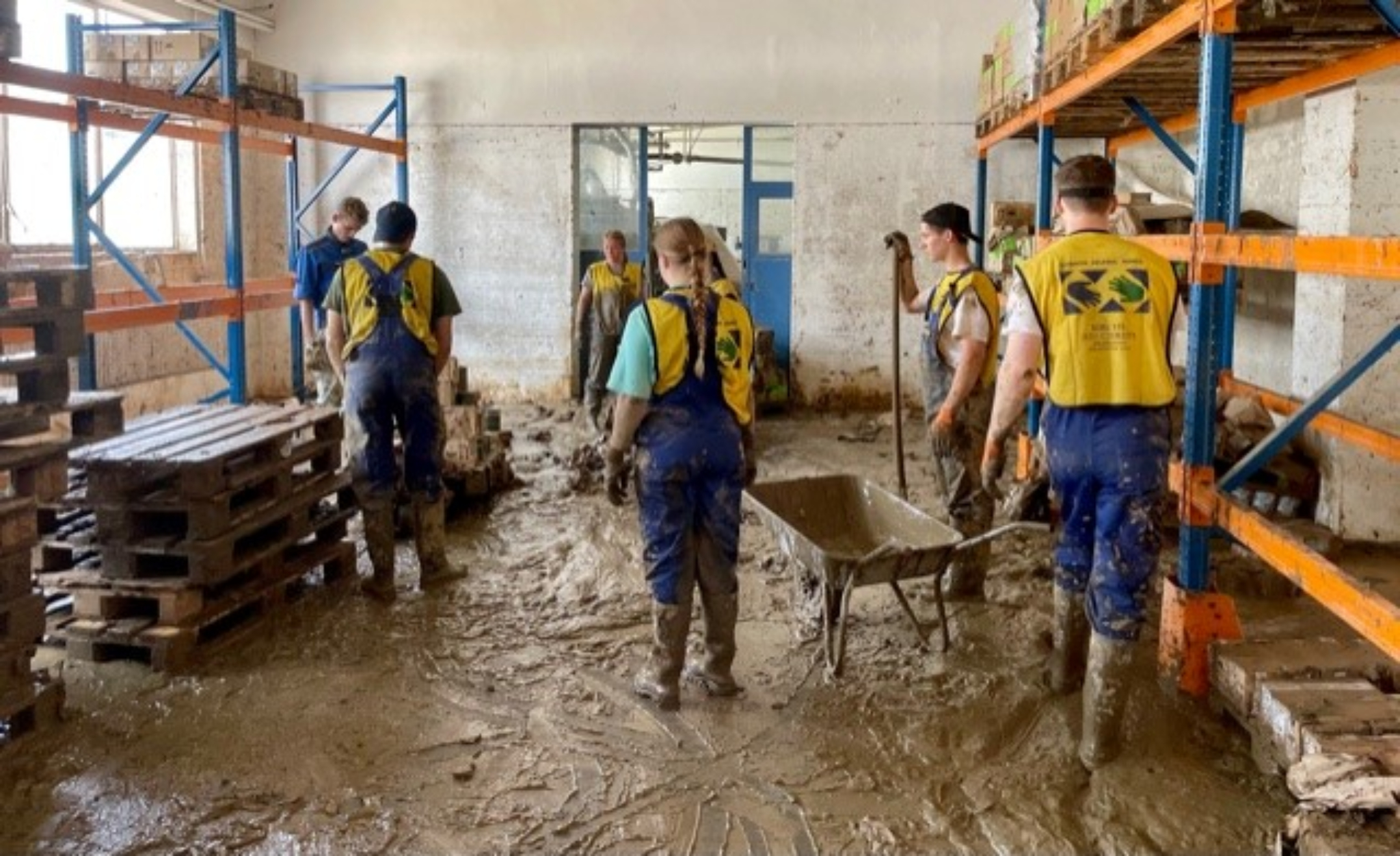 Latter-day Saint volunteers clean up and help those affected by flooding in Germany.