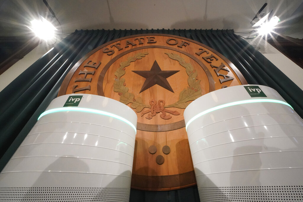 Air cleaners at the Texas Capitol in Austin, Texas.