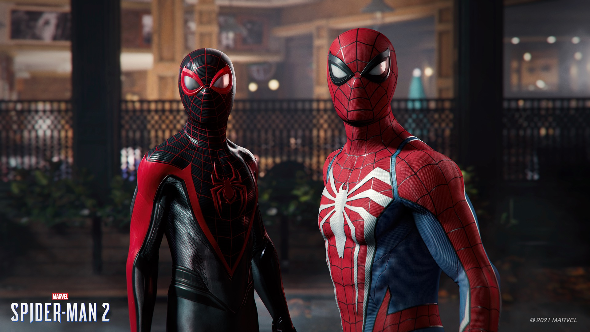 Miles Morales and Peter Parker as Spider-Man in Marvel's Spider-Man 2