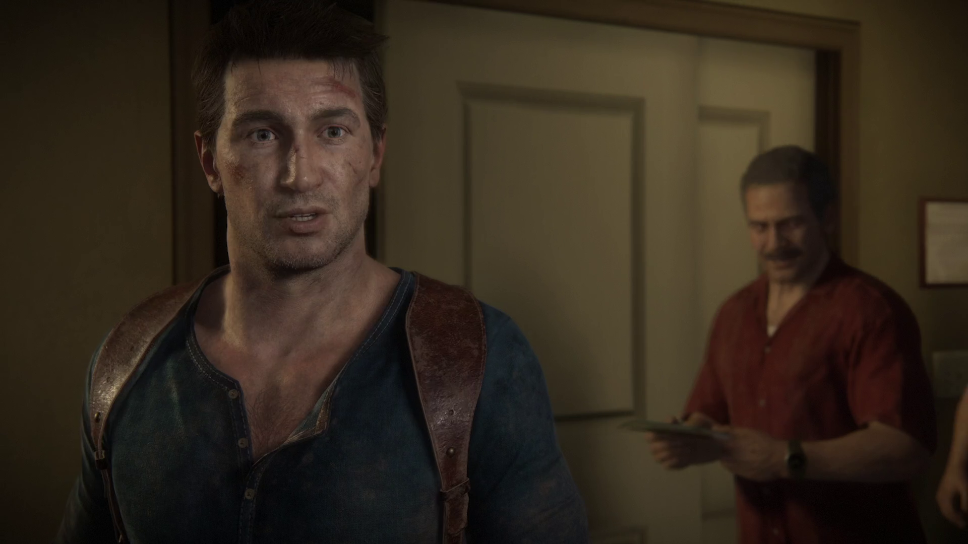 a surprised Nathan Drake in Uncharted 4: A Thief's End on PS5
