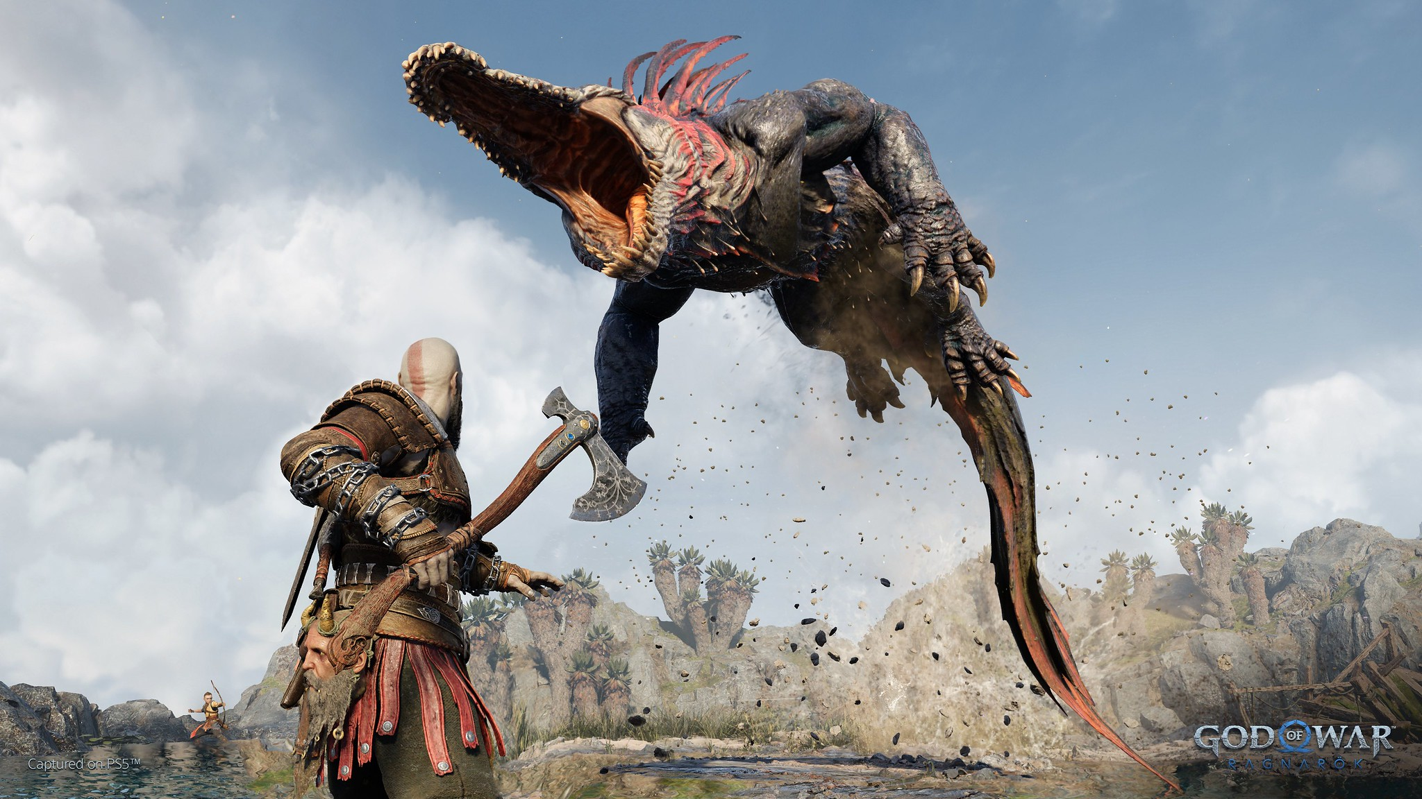 a creature that looks like an alligator attacking Kratos from the air in God of War Ragnarok