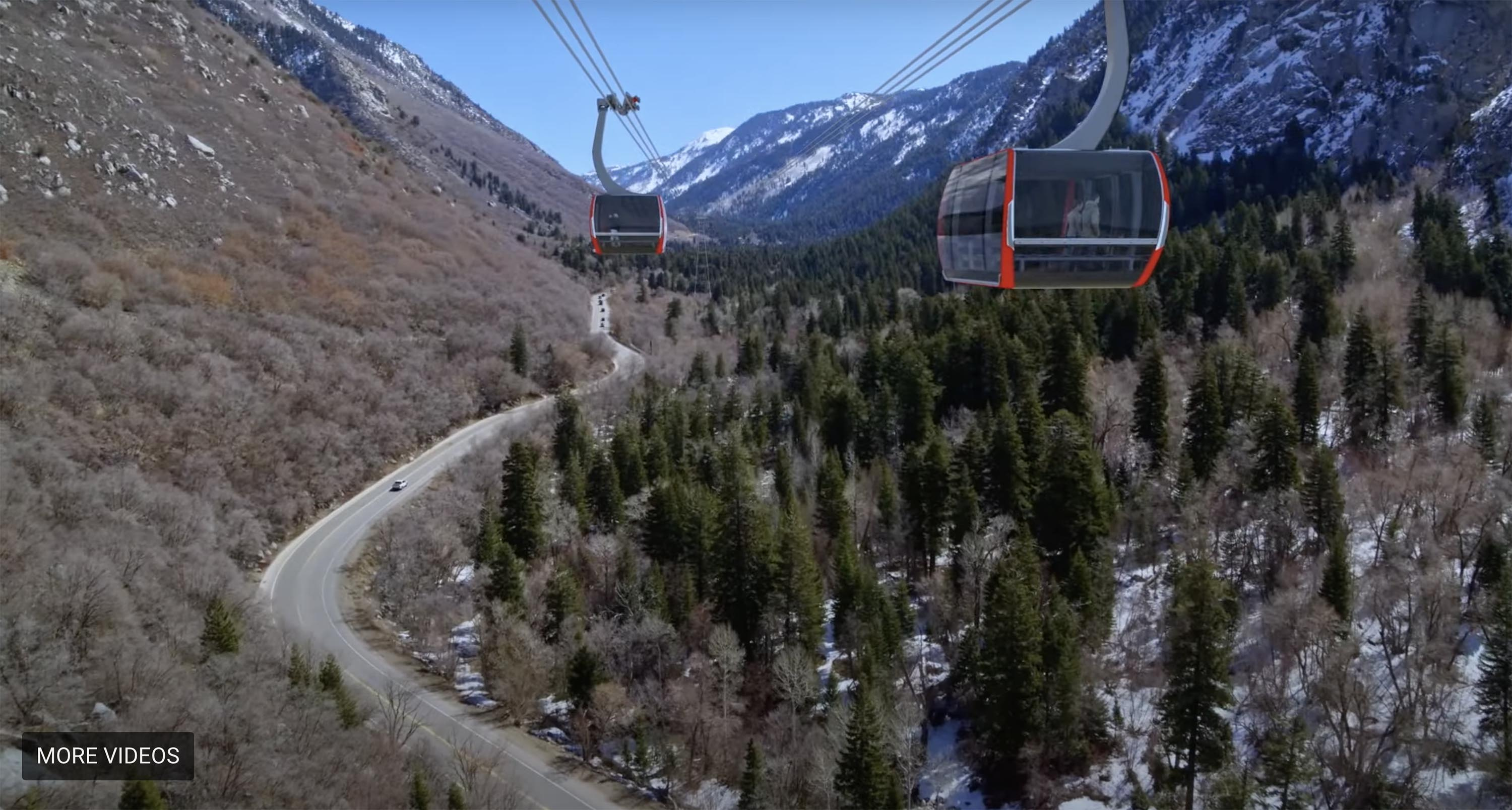 An artist's conception of a gondola in Little Cottonwood Canyon.