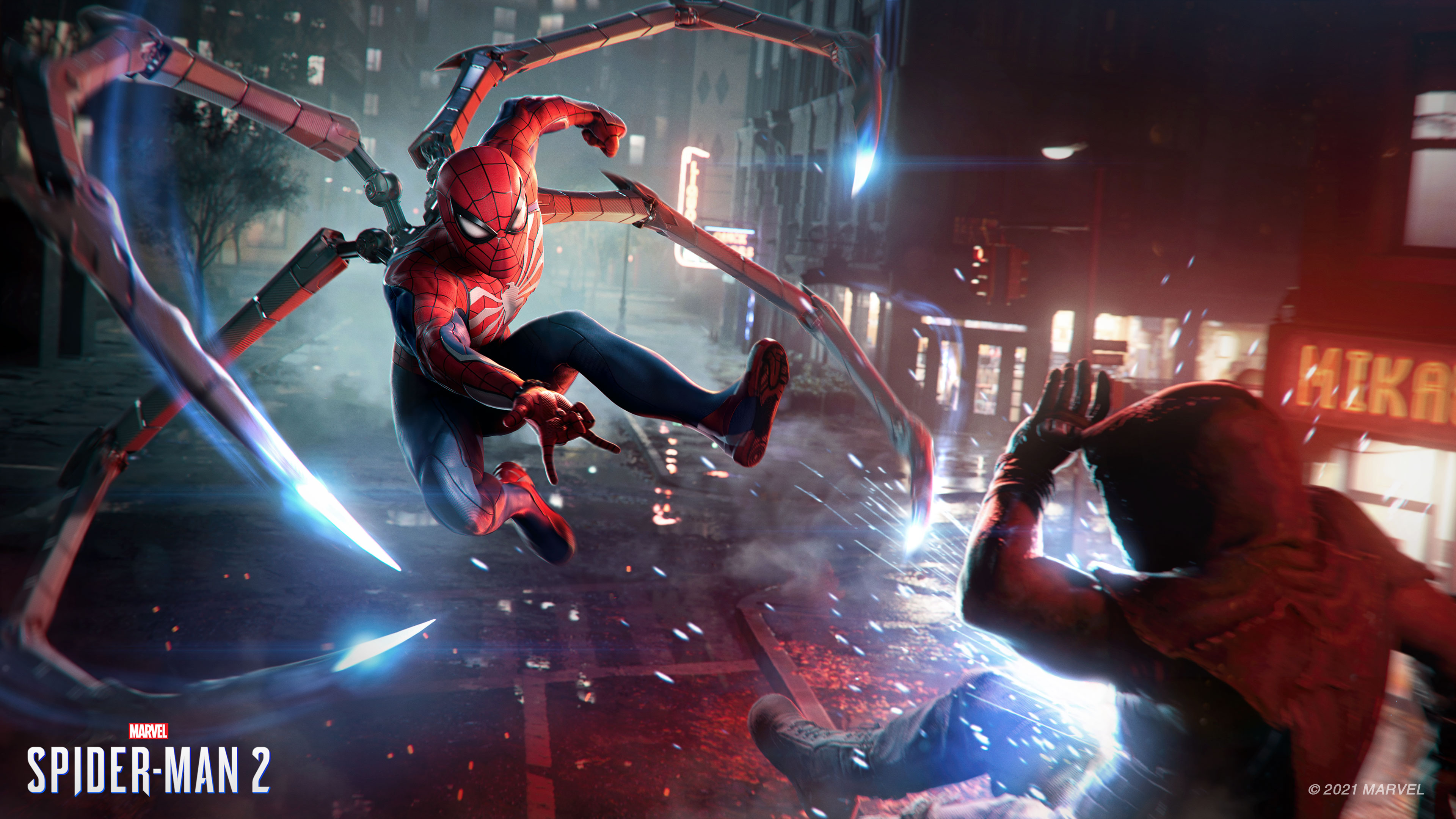 Spider-Man shoots a web in a screenshot from Marvel's Spider-Man 2