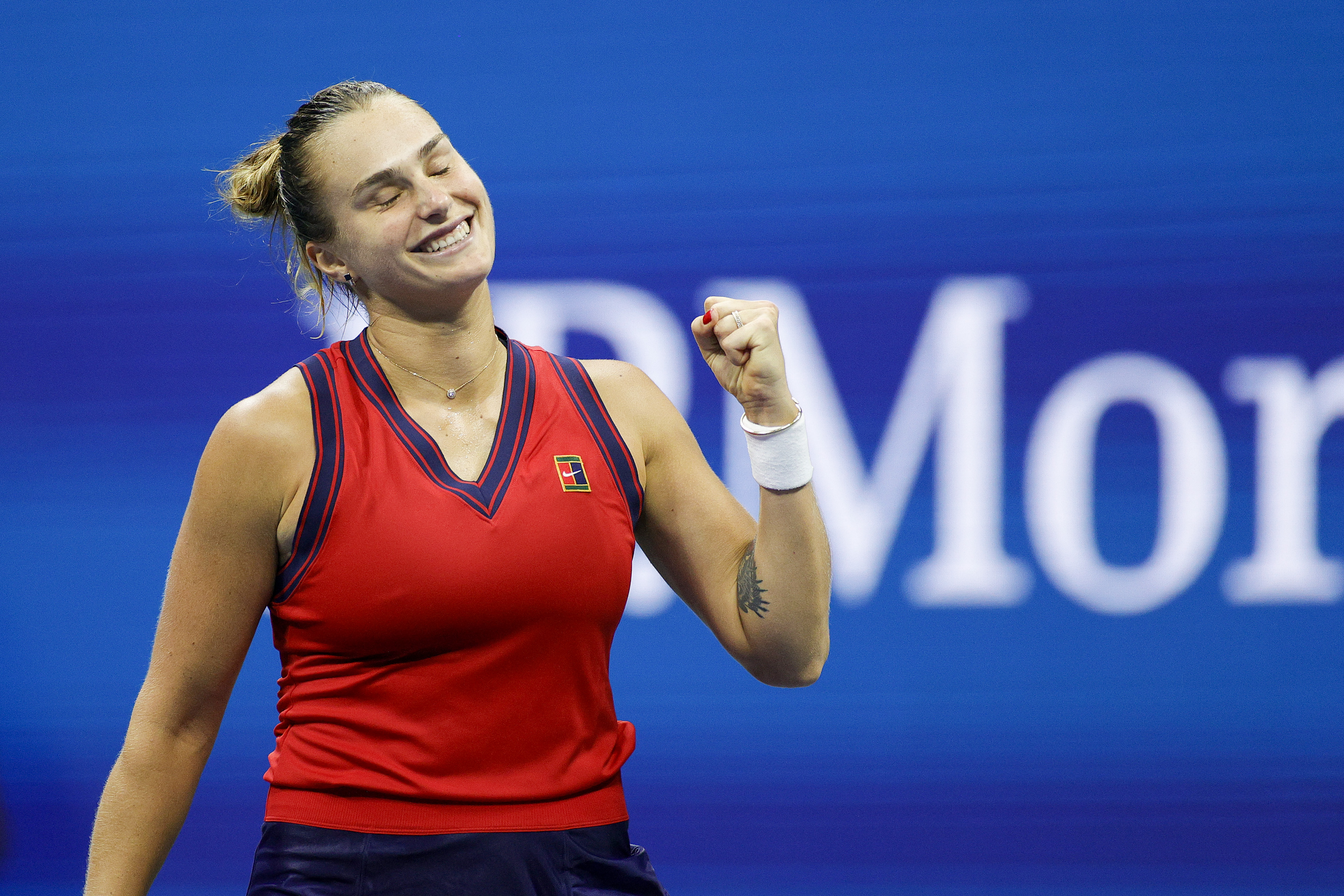 Aryna Sabalenka of Belarus celebrates match point against Barbora Krejcikova of Czech Republic during her Women's Singles quarterfinals match on Day Nine of the 2021 US Open at the USTA Billie Jean King National Tennis Center on September 07, 2021 in the Flushing neighborhood of the Queens borough of New York City.