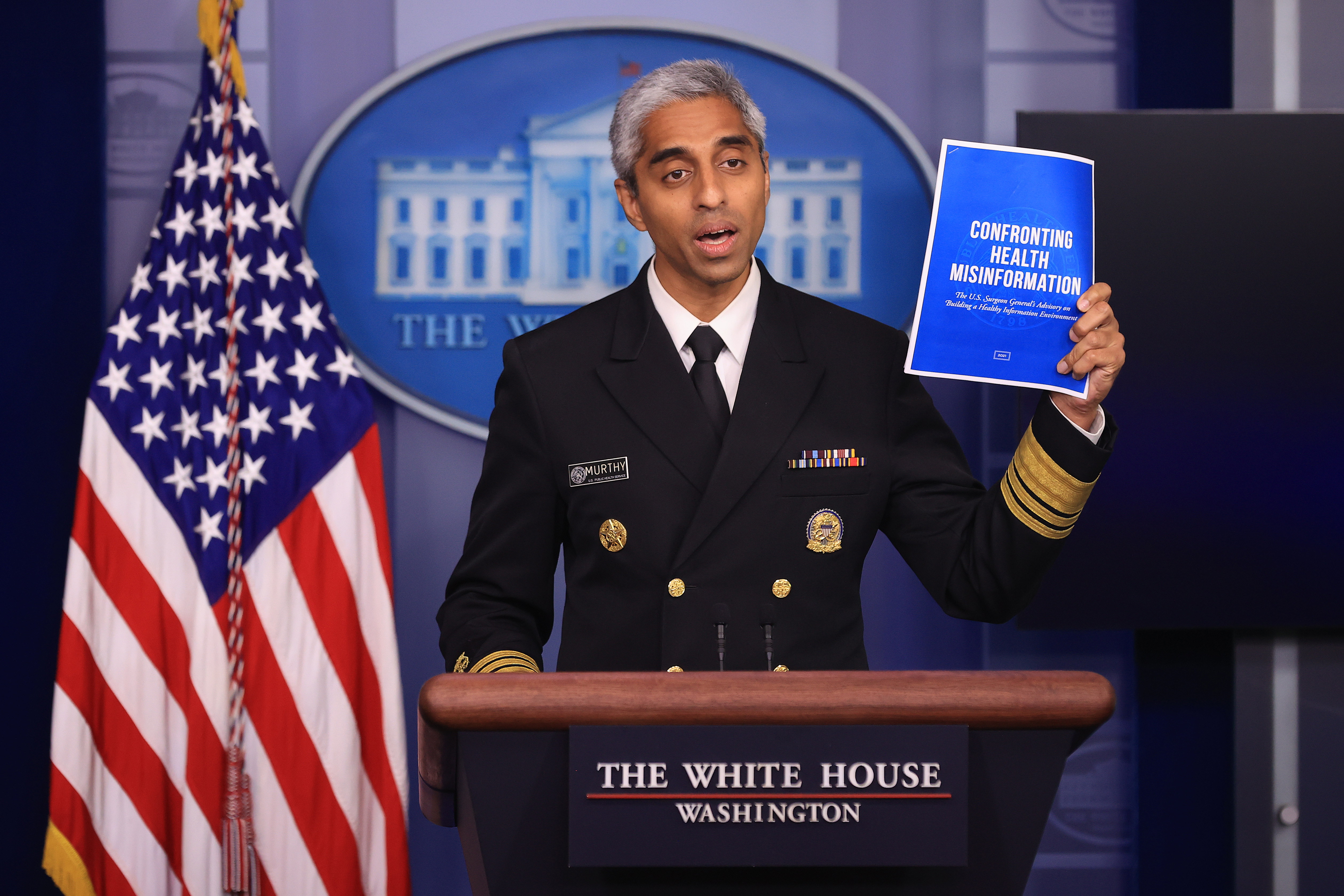 White House Press Secretary Psaki Holds Daily Briefing With Surgeon General Murthy