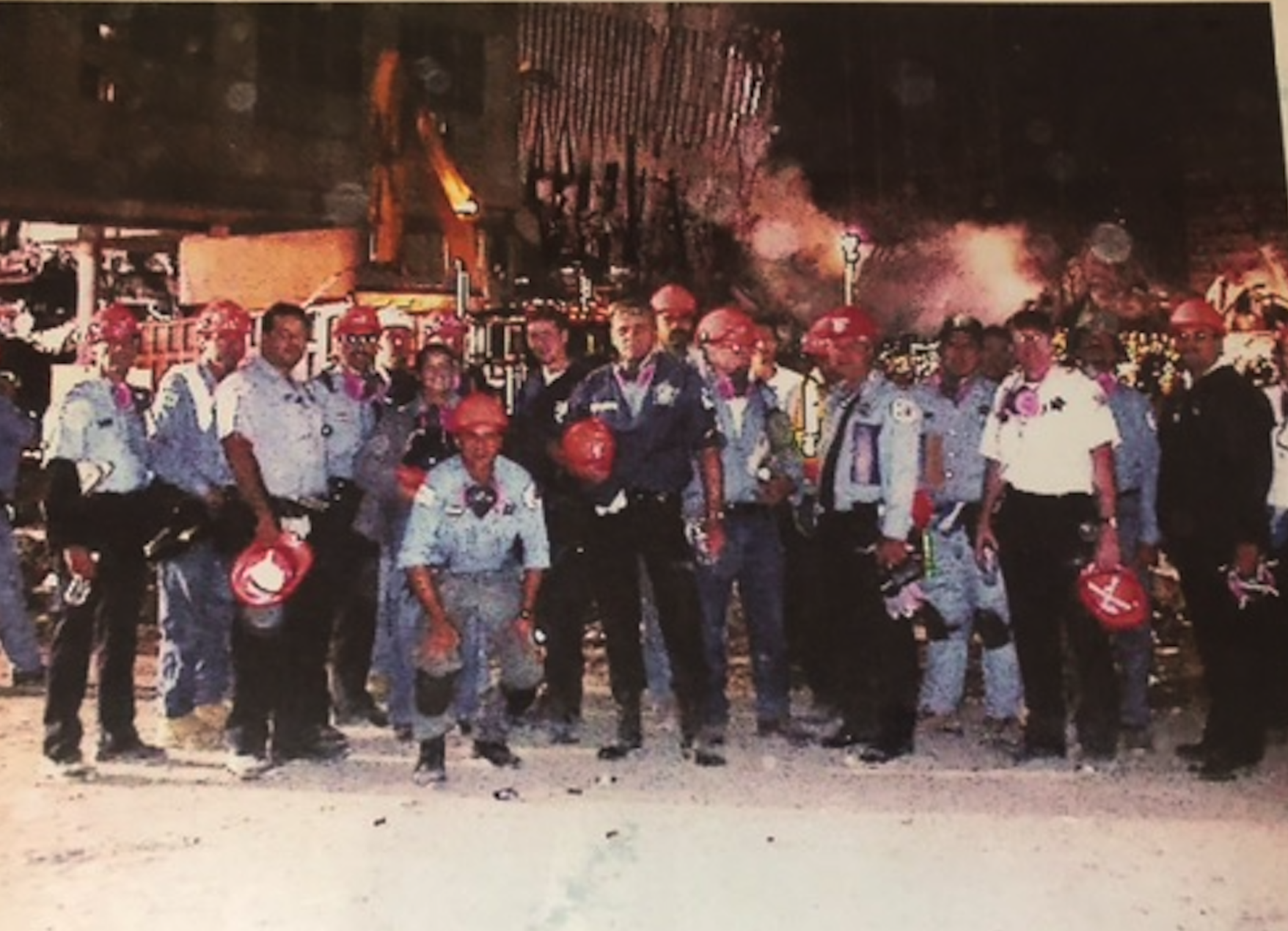 Chicago police officers at the site of the World Trade Center collapse in September 2001.