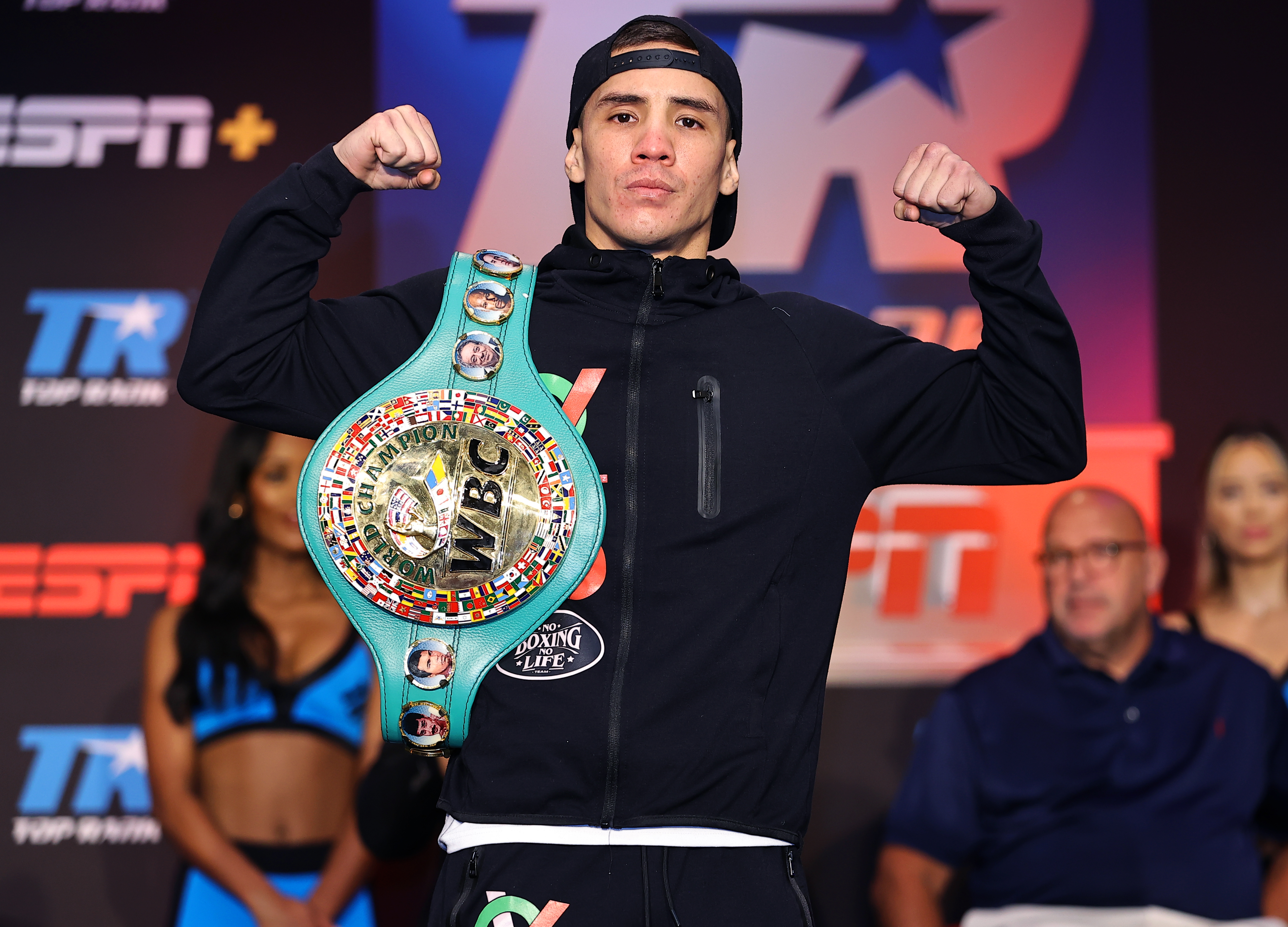 WBC super featherweight champion Oscar Valdez poses after the press conference at Casino del Sol on September 08, 2021 in Tucson, Arizona.
