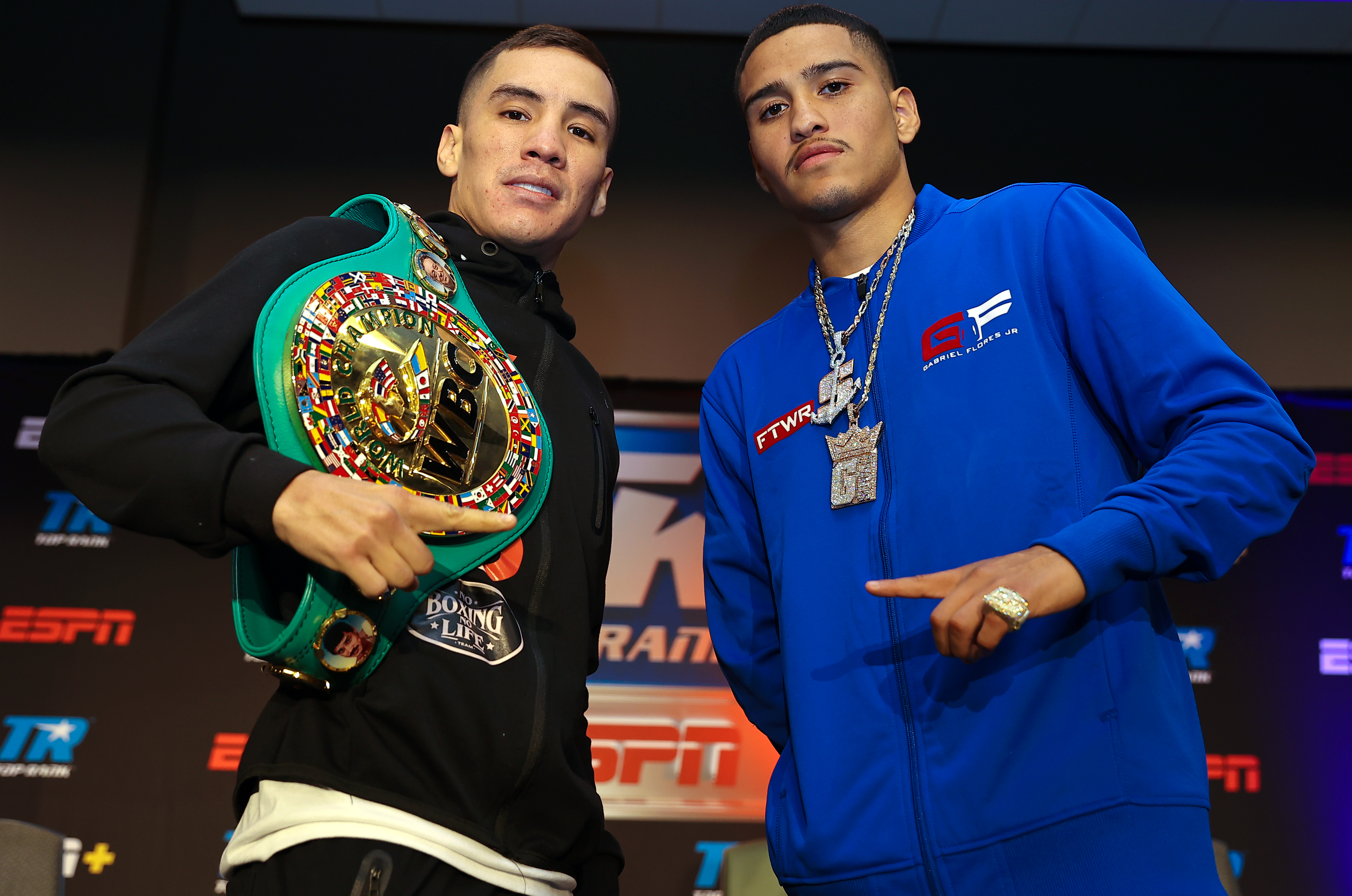 WBC super featherweight champion Oscar Valdez (L) and Gabriel Flores Jr (R) pose after the press conference at Casino del Sol on September 08, 2021 in Tucson, Arizona.