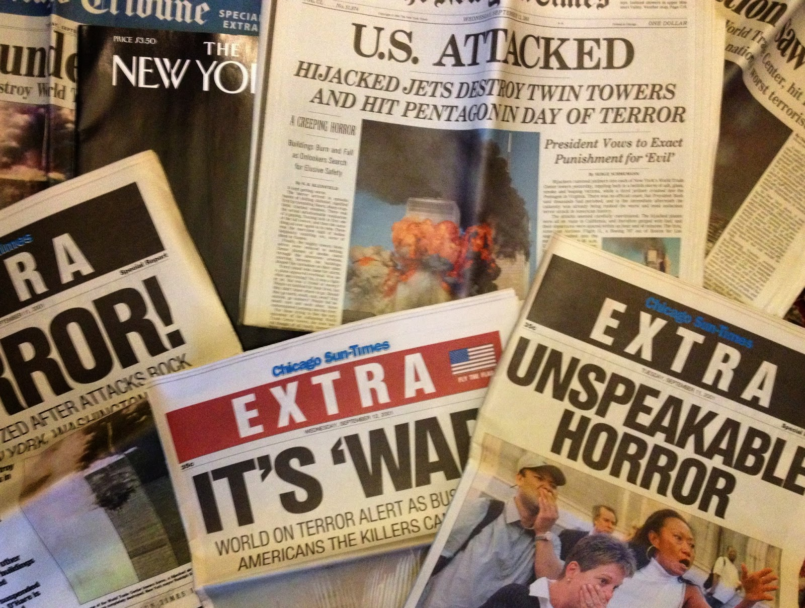 """Newspapers and magazines from the Sept. 11, 2001 attacks, including three """"EXTRA"""" editions of the Sun-Times."""