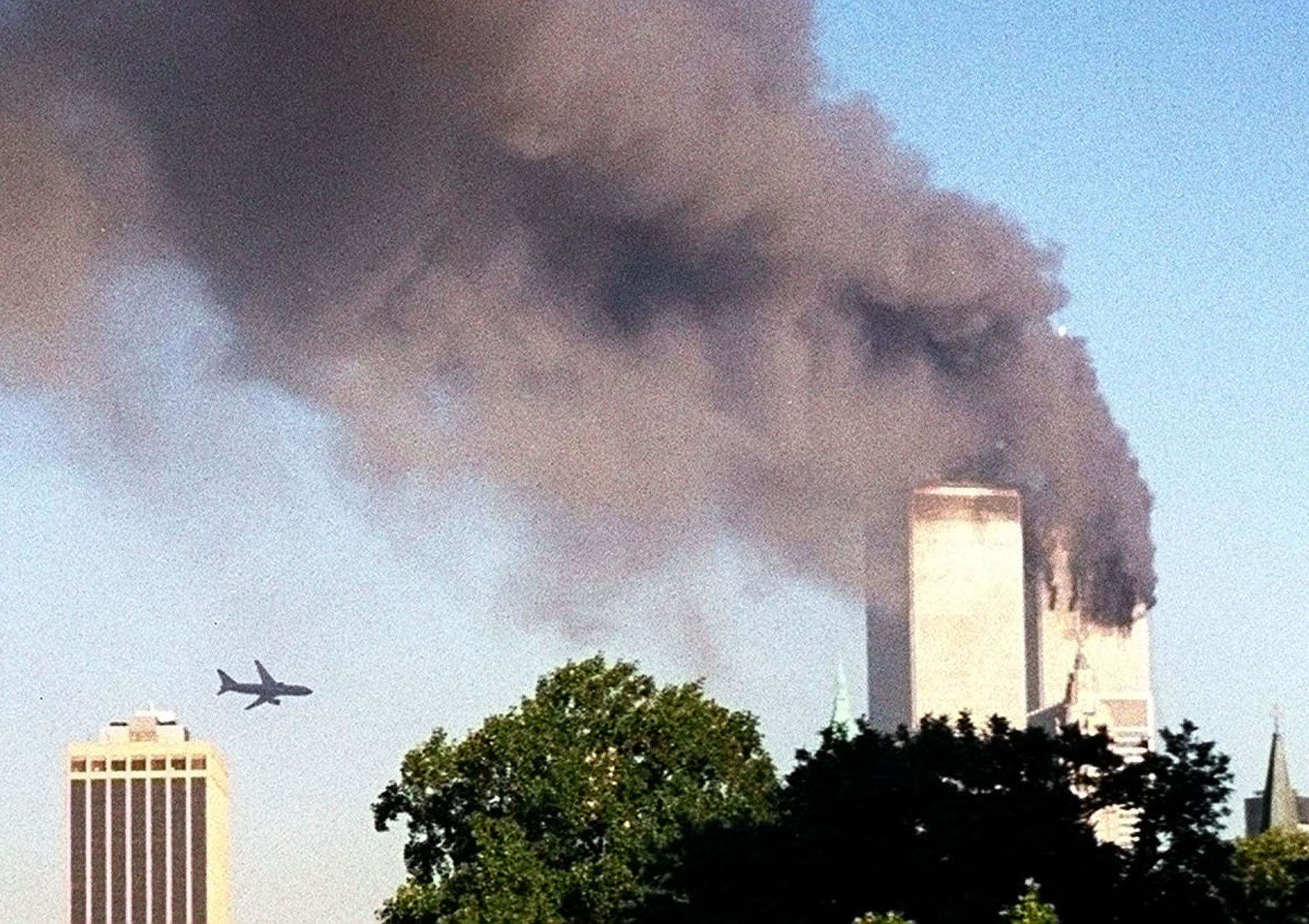 An airplane approaches the south tower of the World Trade Center on 9/11.