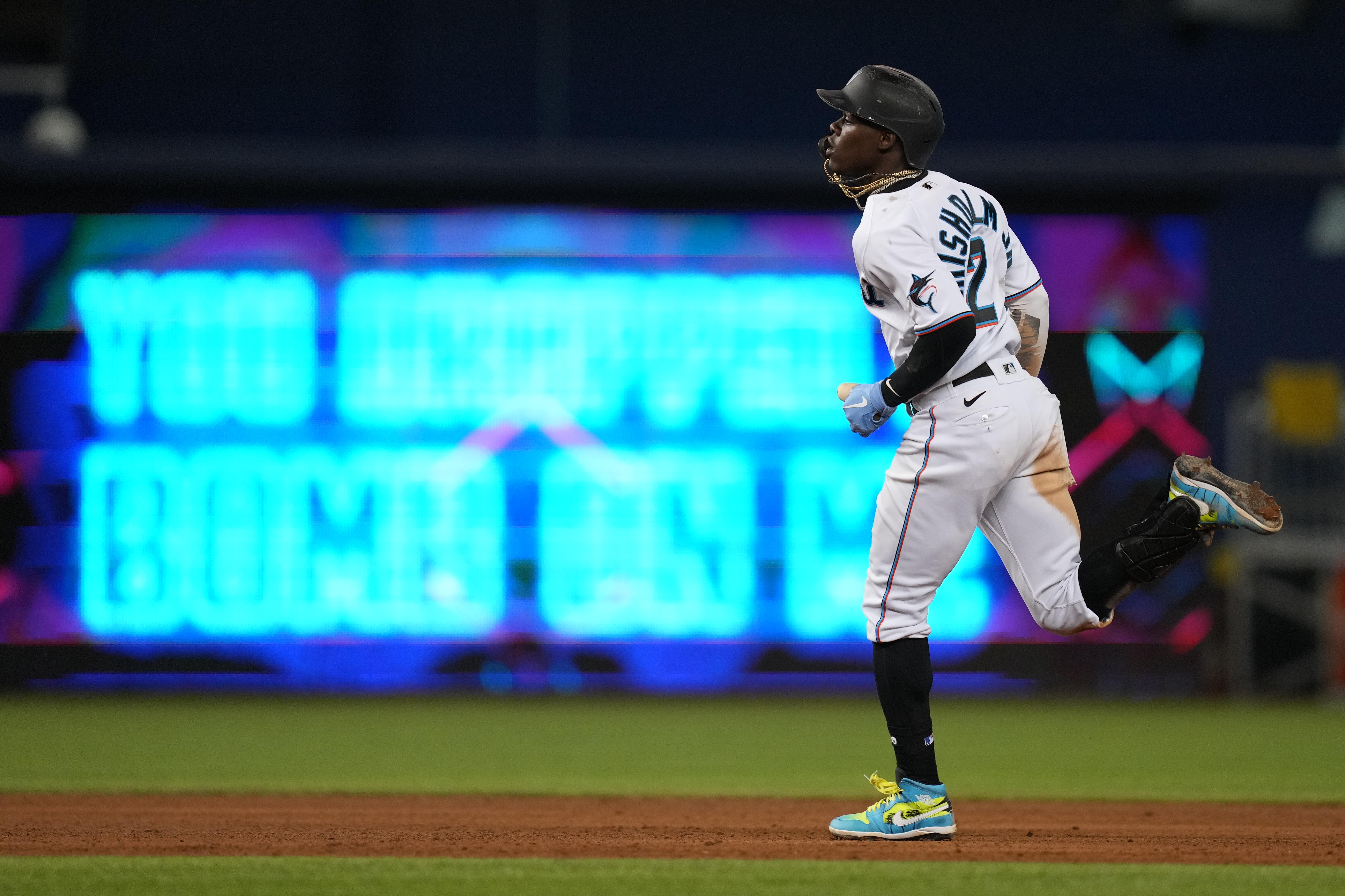 Miami Marlins second baseman Jazz Chisholm Jr. (2) rounds the bases after hitting a solo homerun in the 8th inning against the New York Mets at loanDepot park