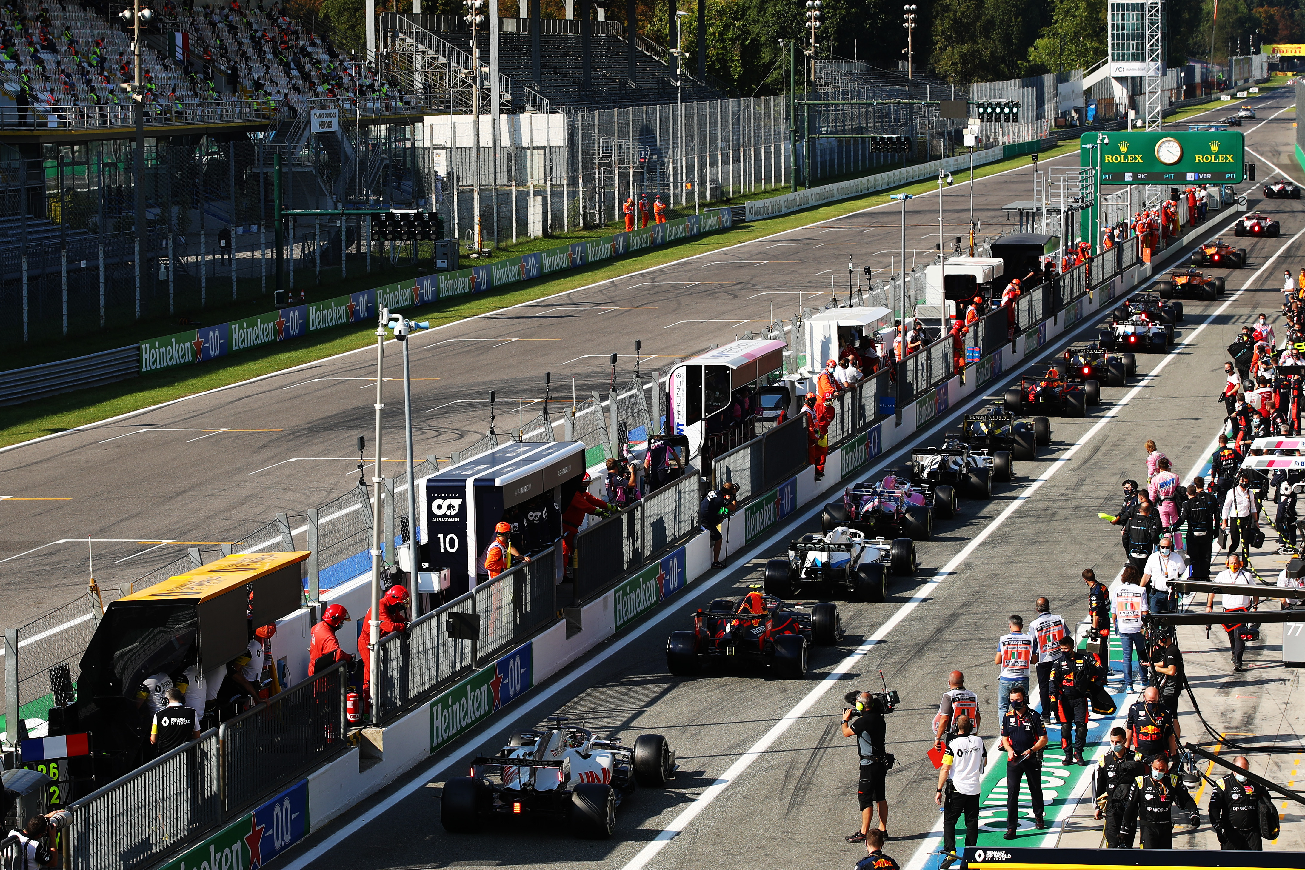 A general view of the pitlane as cars leave to return to the track after a red flag period during the F1 Grand Prix of Italy at Autodromo di Monza on September 06, 2020 in Monza, Italy.