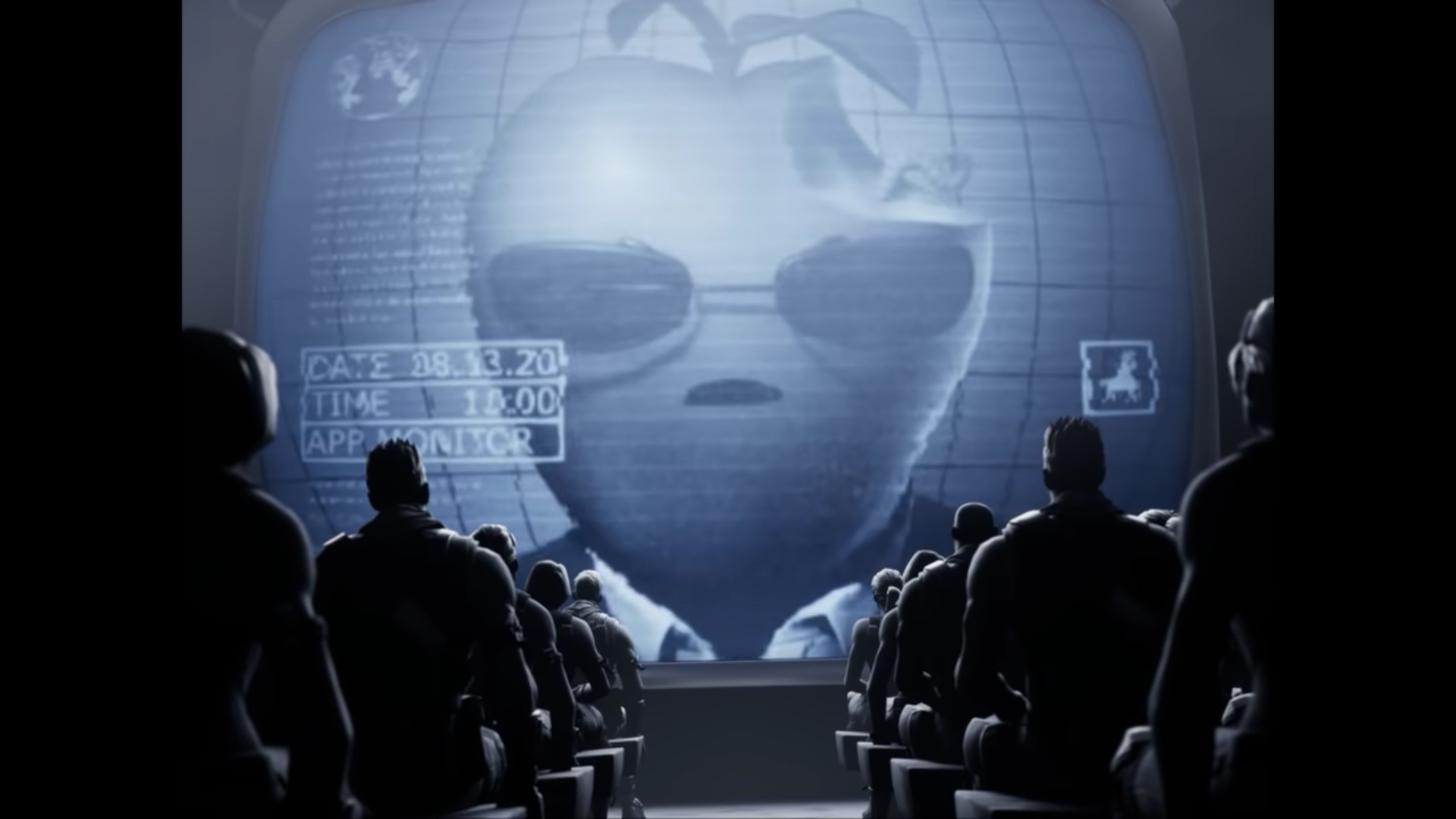 A large totalitarian Apple with sunglasses addresses an audience of mind-numbed Fortnite characters