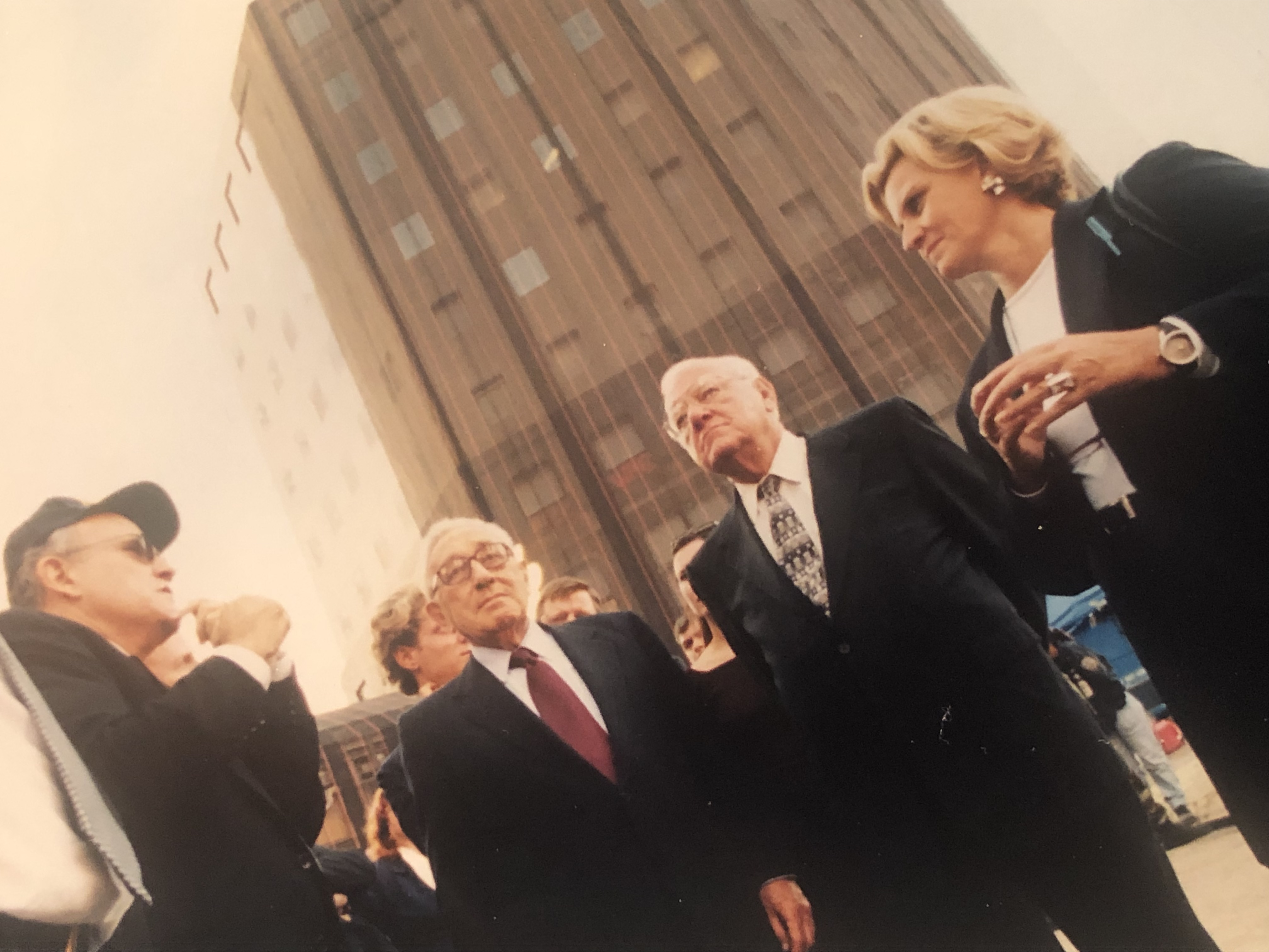 Then-New York Mayor Rudy Giuliani (from left), Henry Kissinger, George Ryan and Sneed at Ground Zero soon after Sept. 11, 2001.