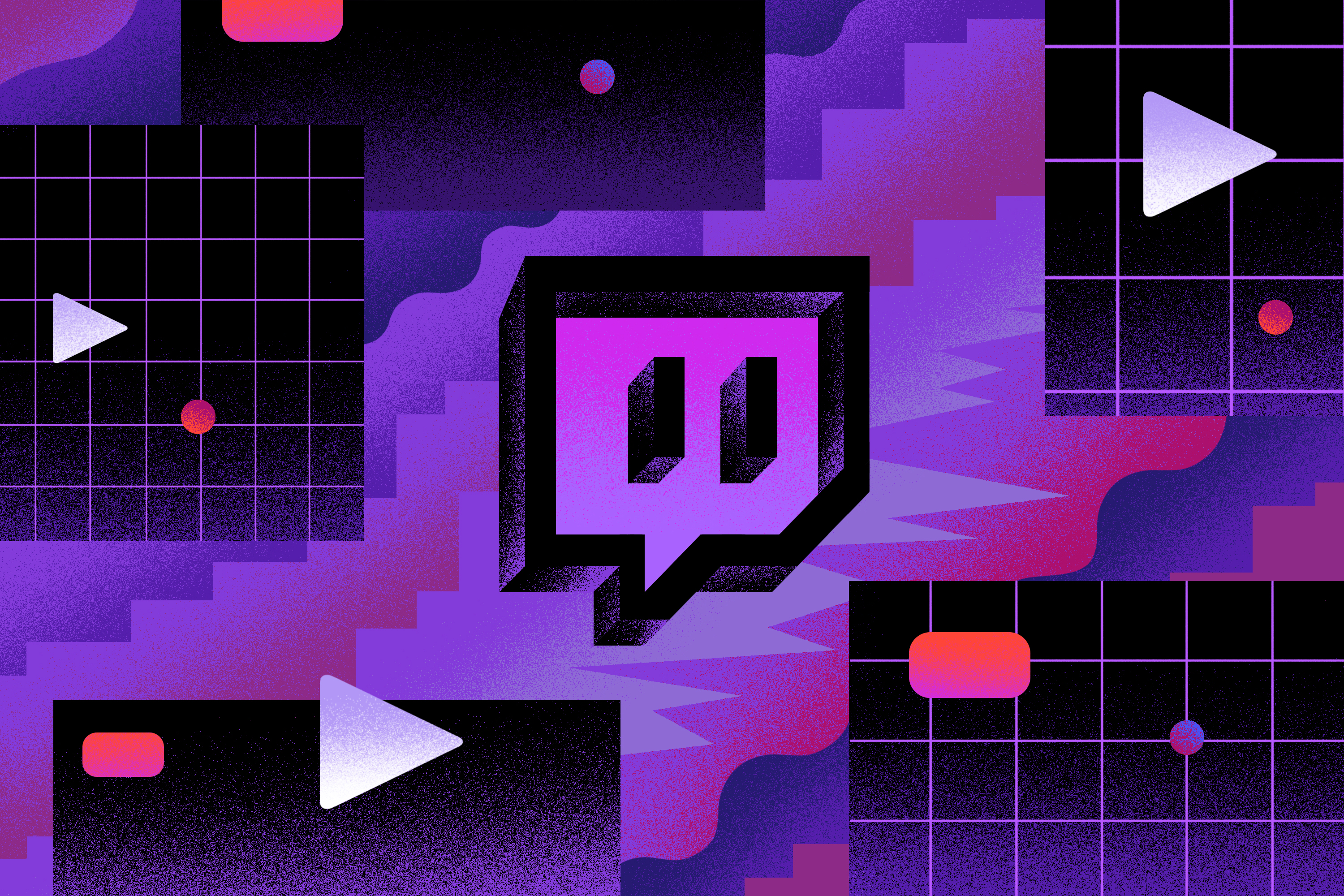 Illustration featuring purple and pink graphic lines and a Twitch logo