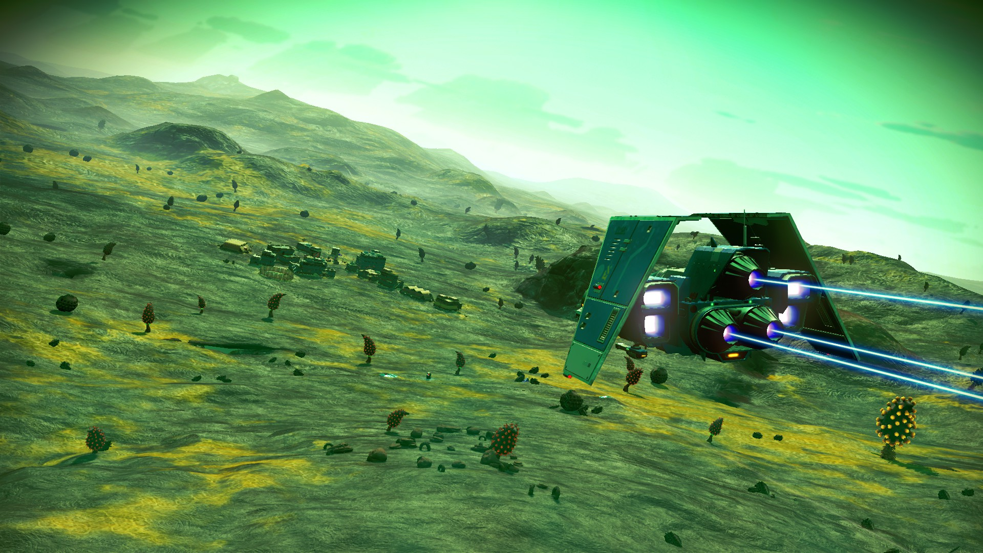 No Man's Sky - a ship flies above a green, fungal planet, towards a settlement in the distance.