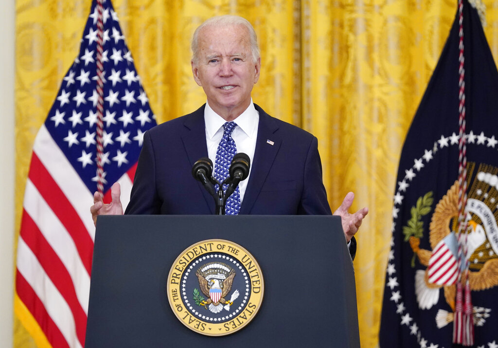 President Joe Biden speaks during an event in Washington.