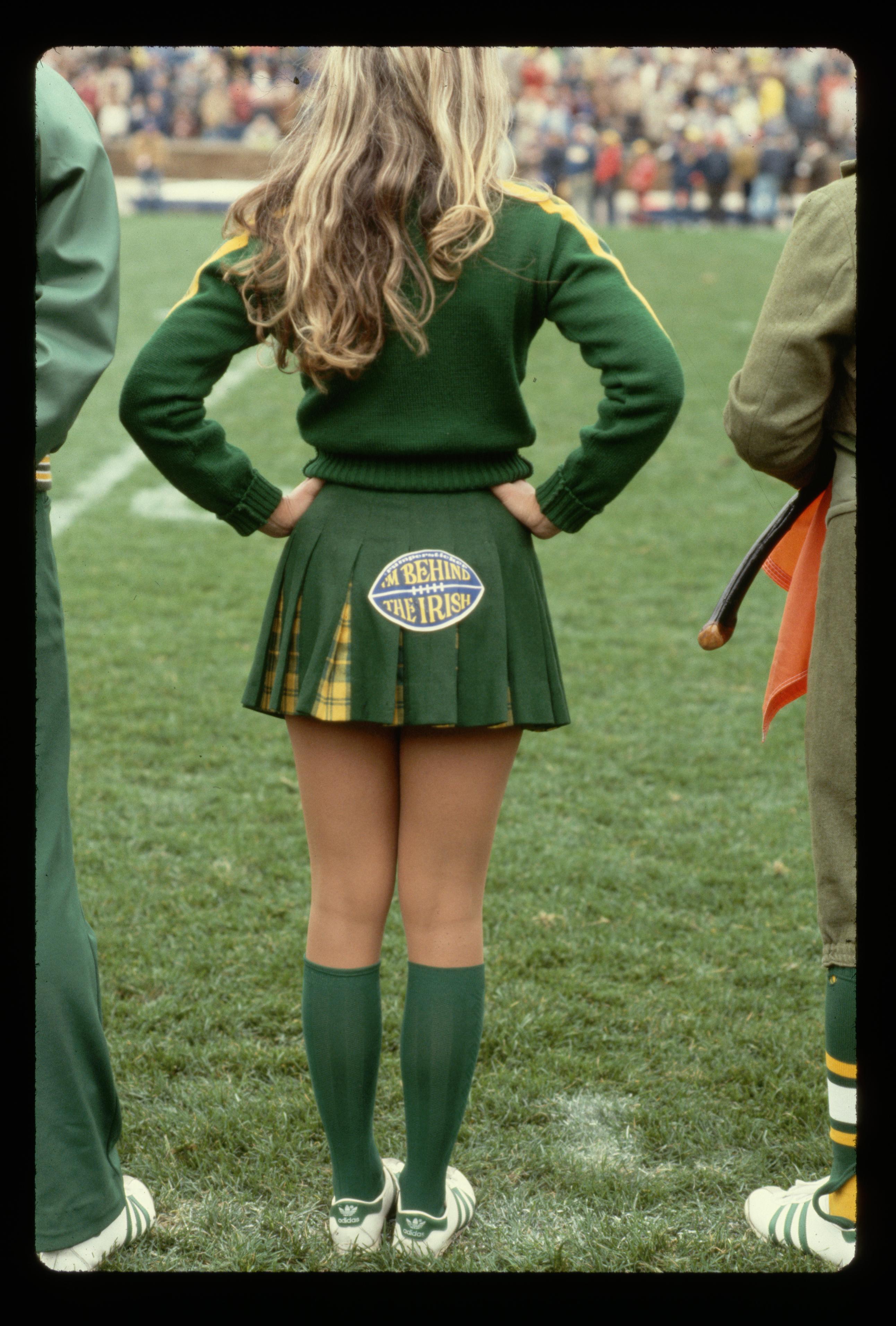 Notre Dame Cheerleader at a Football Game