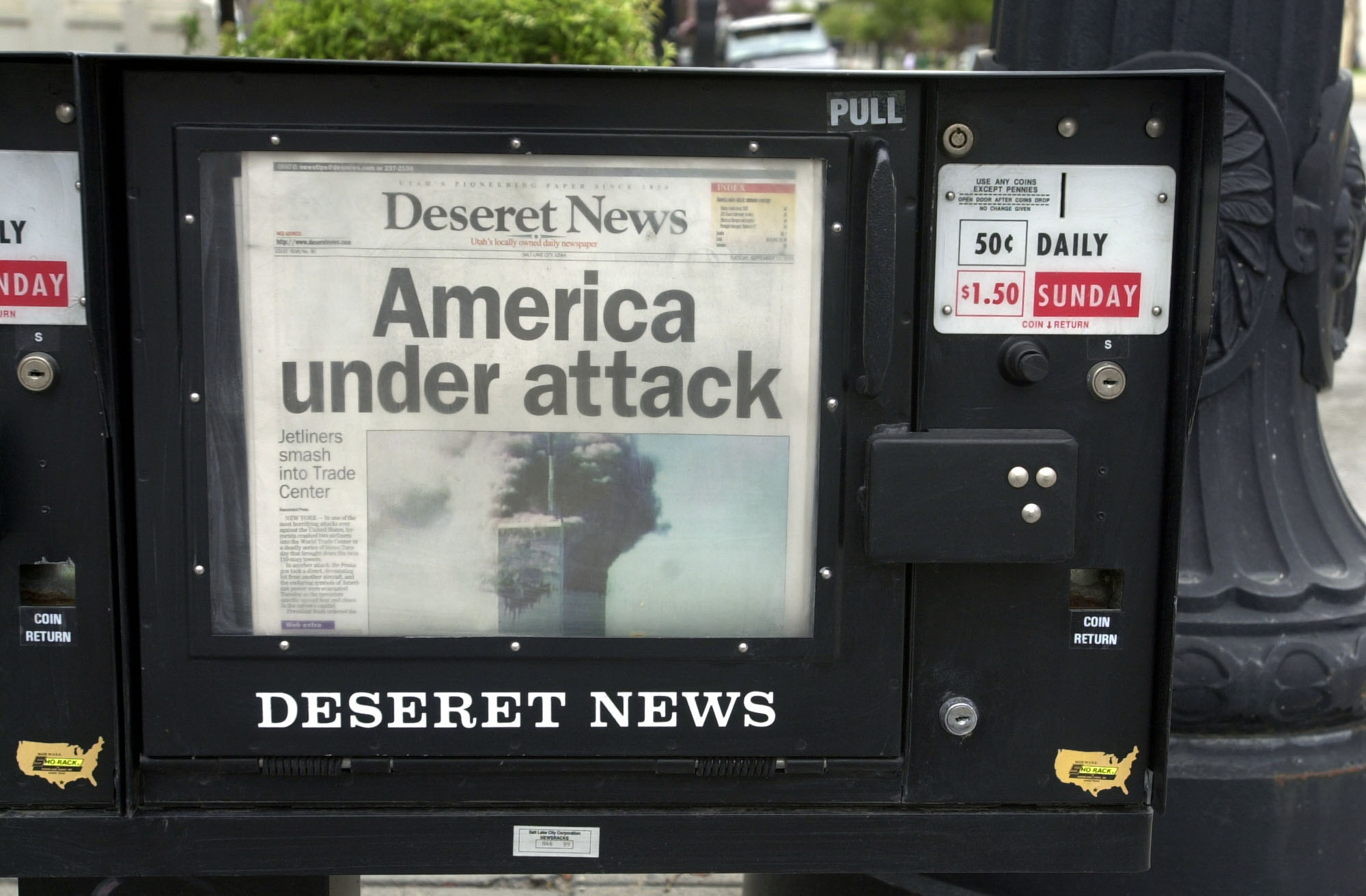 The Deseret News in news racks in Salt Lake City on Sept. 11, 2001.
