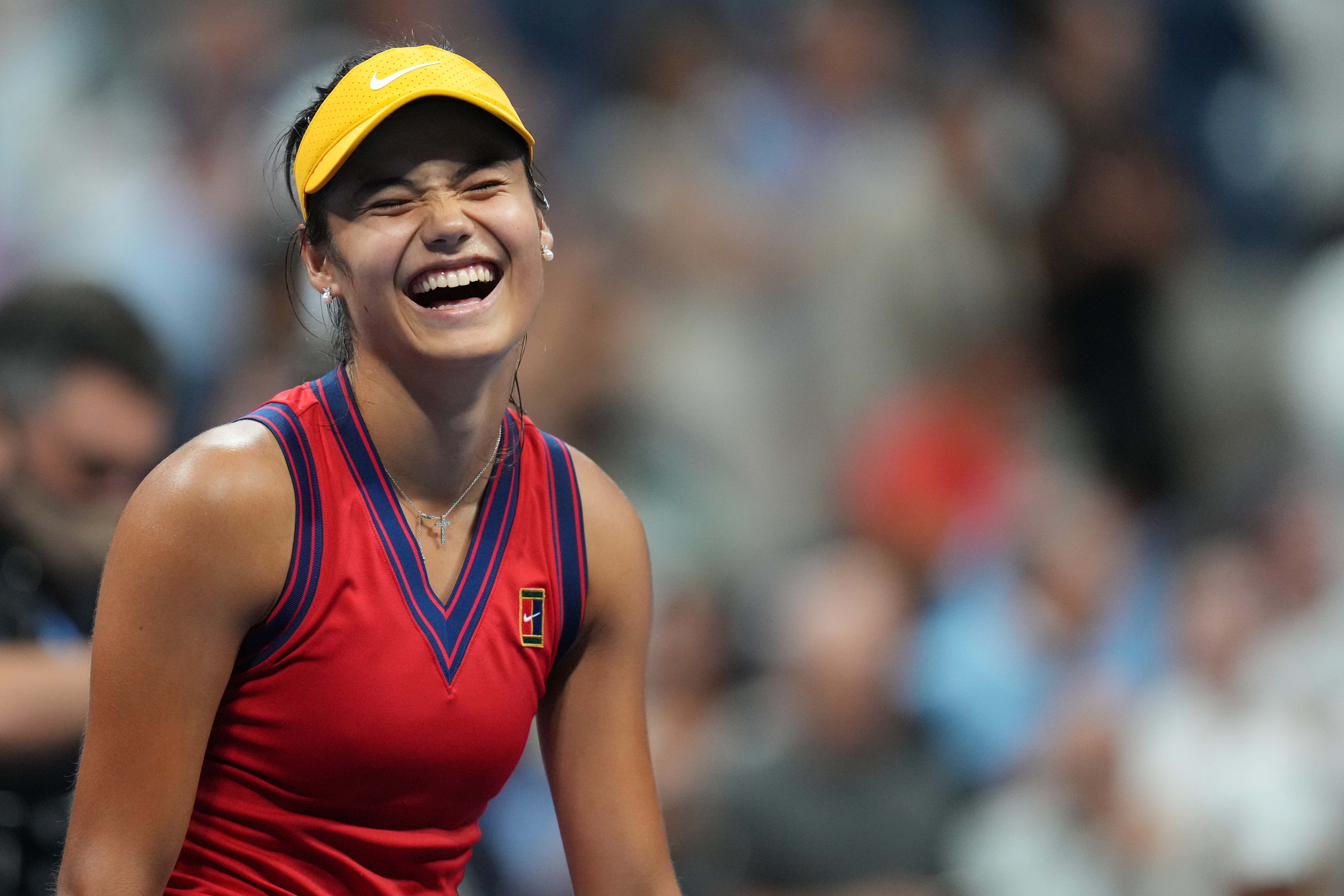 Emma Raducanu of Great Britain celebrates after her match against Maria Sakkari of Greece (not pictured) on day eleven of the 2021 U.S. Open tennis tournament at USTA Billie Jean King National Tennis Center.