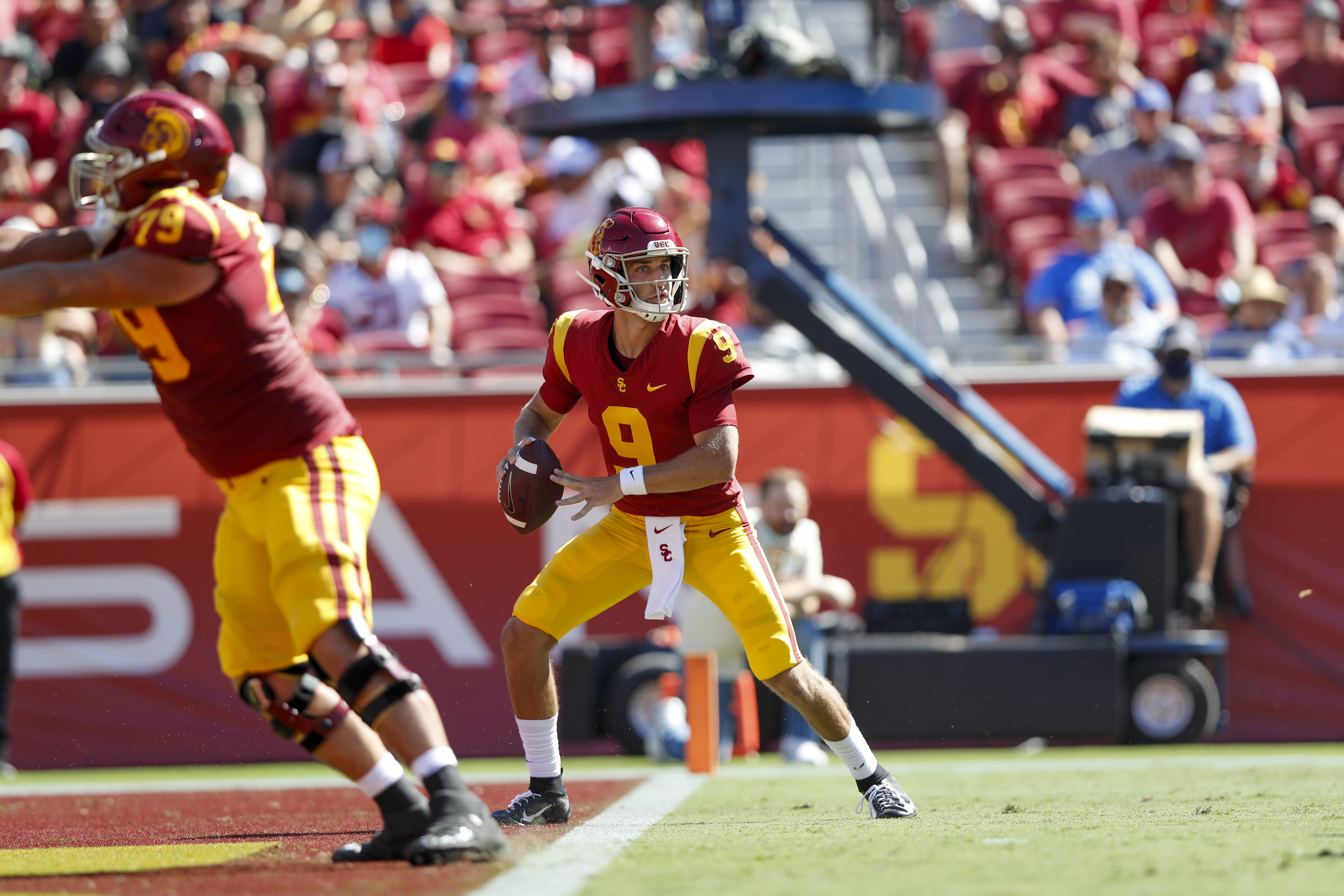 USC Trojans quarterback Kedon Slovis during a college football game between San Jose State Spartans against the USC Trojans on September 4, 2021, at United Airlines Field at The Los Angeles Memorial Coliseum in Los Angeles, CA.