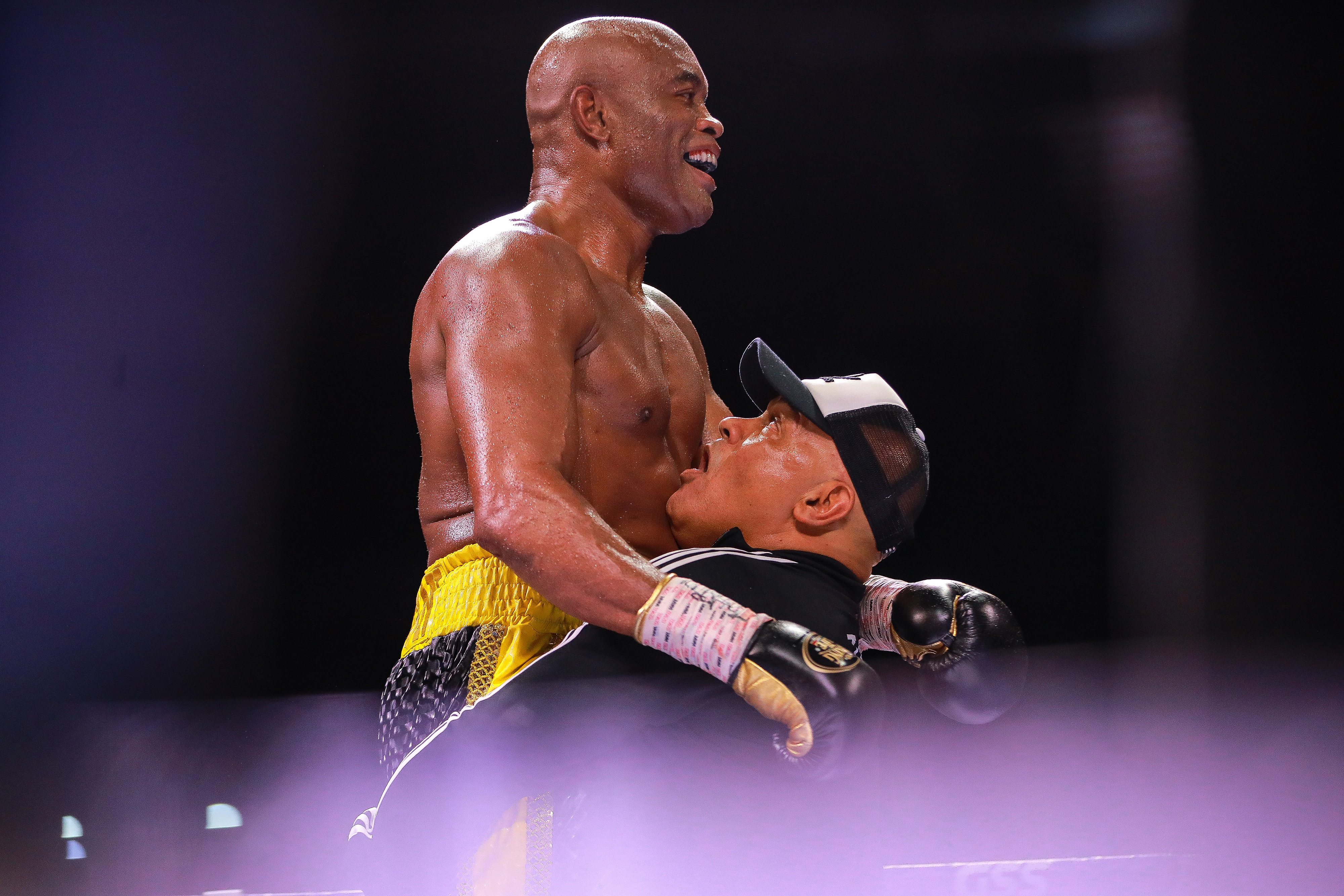 """Anderson """"Spider"""" Silva, celebrates the victory after winning the fight against Julio Cesar Chávez Jr. as part of the Tribute to the Kings at Jalisco Stadium on June 19, 2021 in Guadalajara, Mexico."""