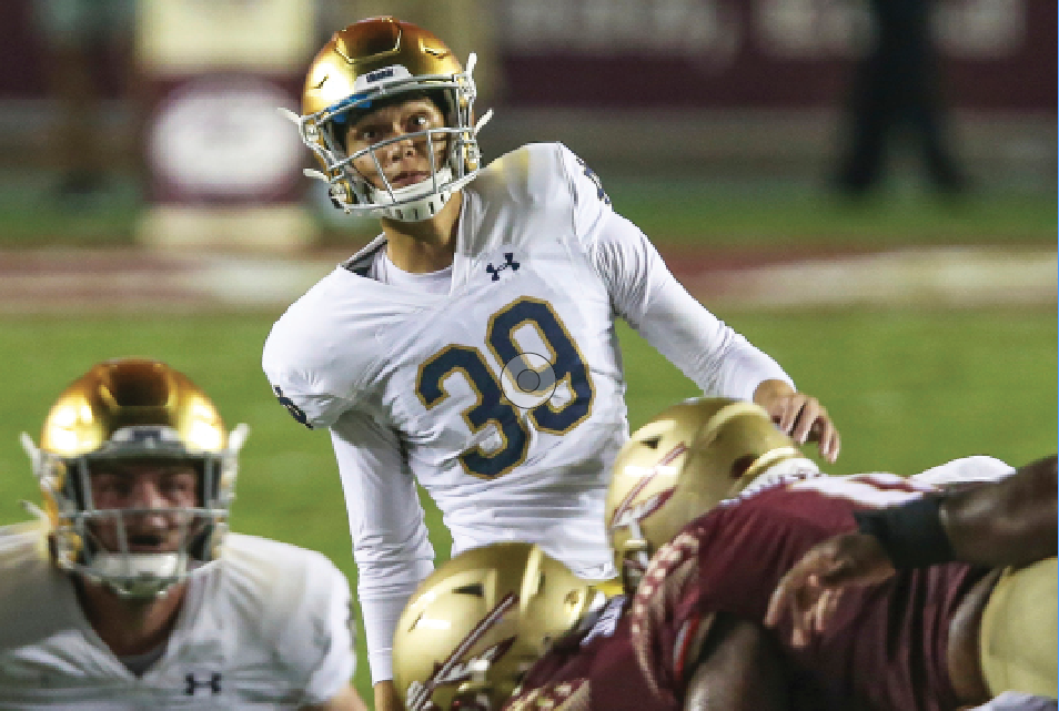 Jonathan Doerer, who has been working on his mental game for years, converted his first chance at a game-winning kick with Notre Dame in the opener.
