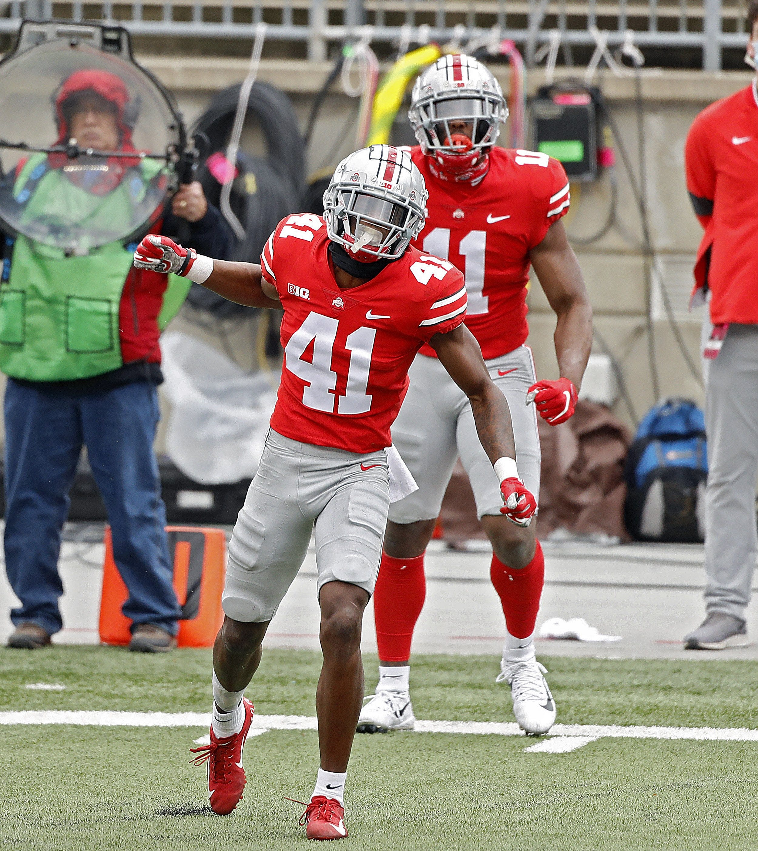 Ohio State Buckeyes safety Josh Proctor celebrates a tackle against Nebraska Cornhuskers during the 2nd quarter in their NCAA Division I football game on Saturday, Oct. 24, 2020 at Ohio Stadium in Columbus, Ohio.