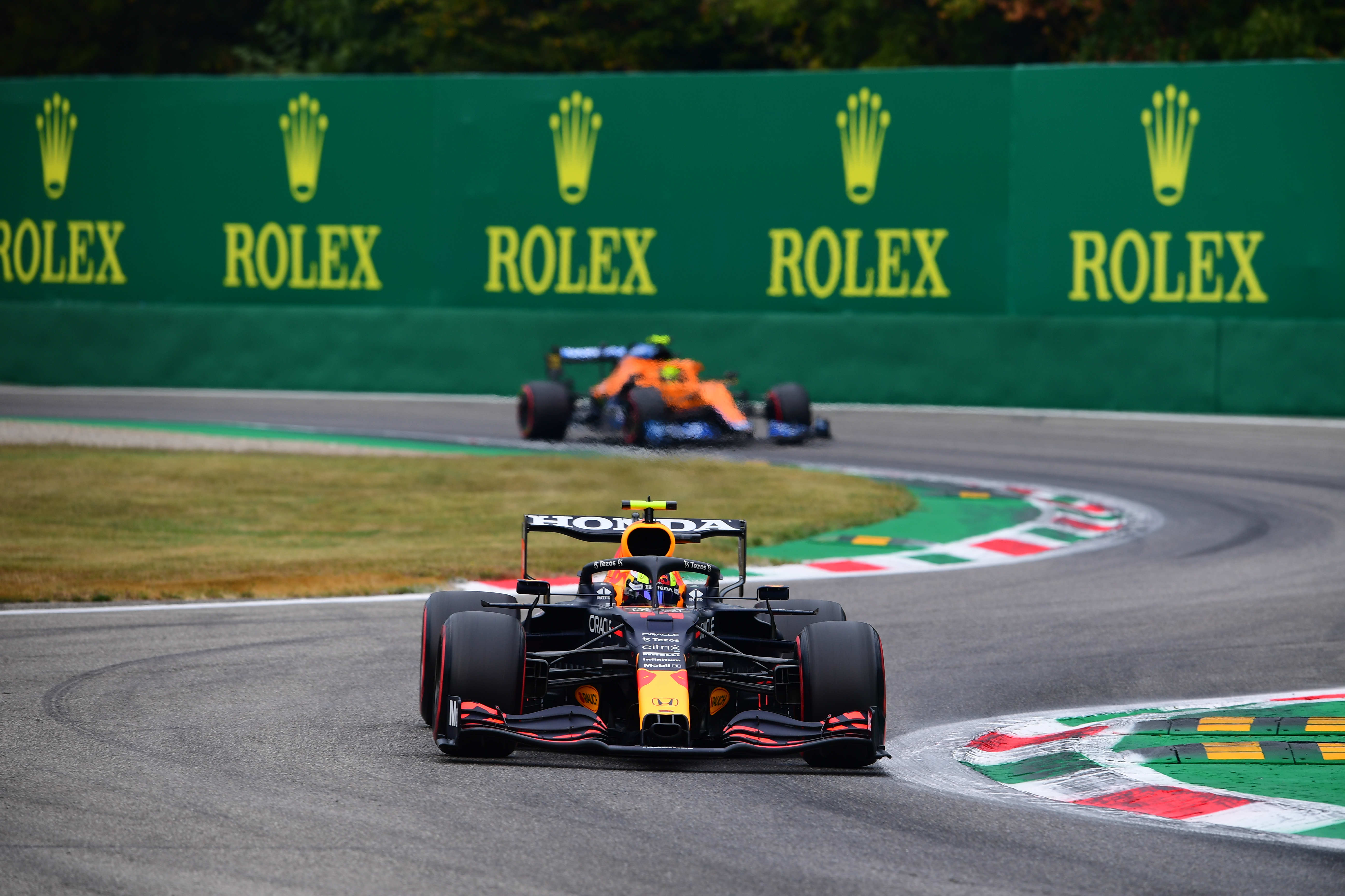 Sergio Perez of Red Bull Racing Honda drive his RB16B single-seater during qualifying of Italian GP, 14th round of Formula 1 World Championship in Autodromo Internazionale di Monza, in Monza, Lombardia, Italy, 10 September 2021