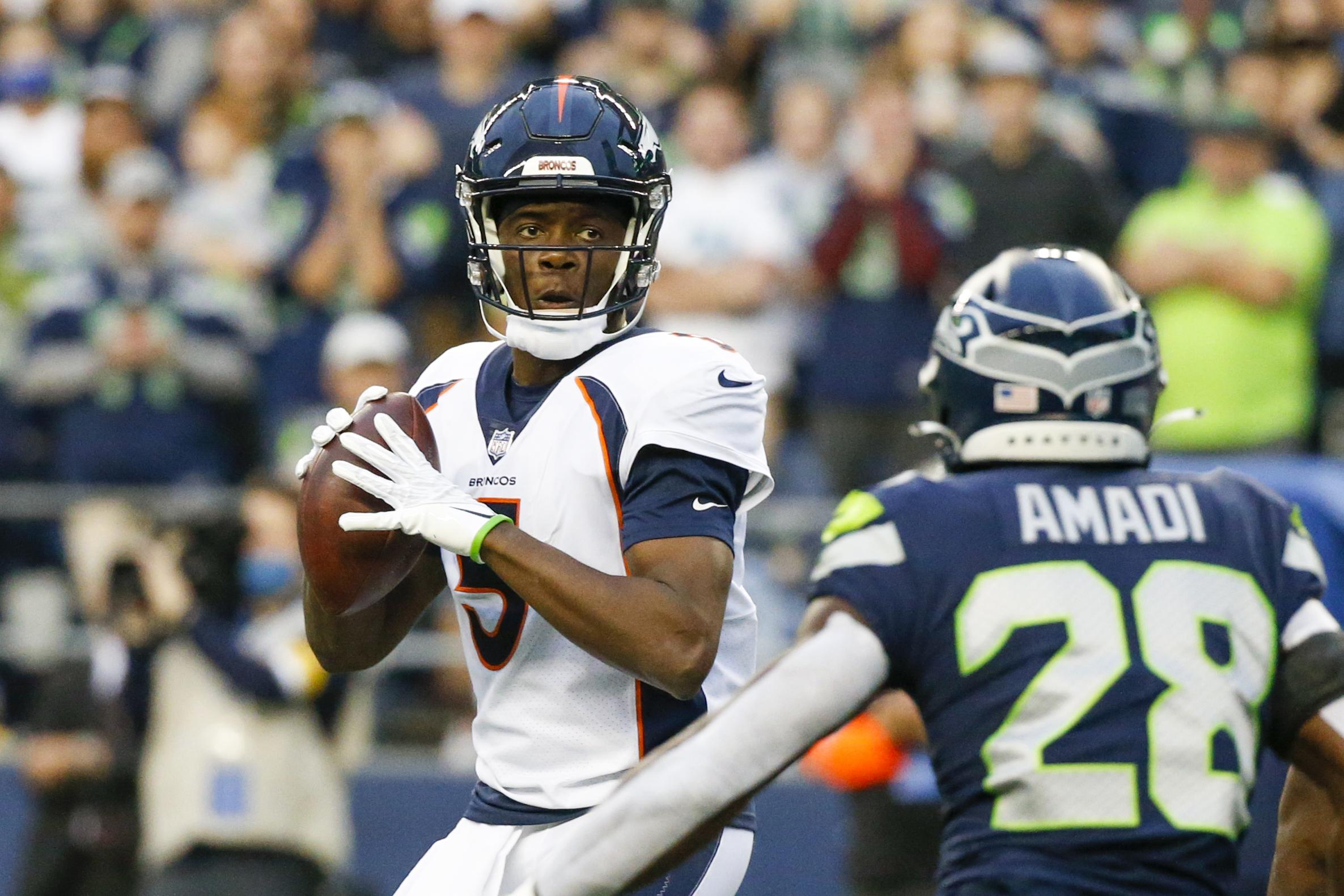 Seattle, Washington, USA; Denver Broncos quarterback Teddy Bridgewater (5) drops back to pass against the Seattle Seahawks during the first quarter at Lumen Field. Mandatory Credit: Joe Nicholson