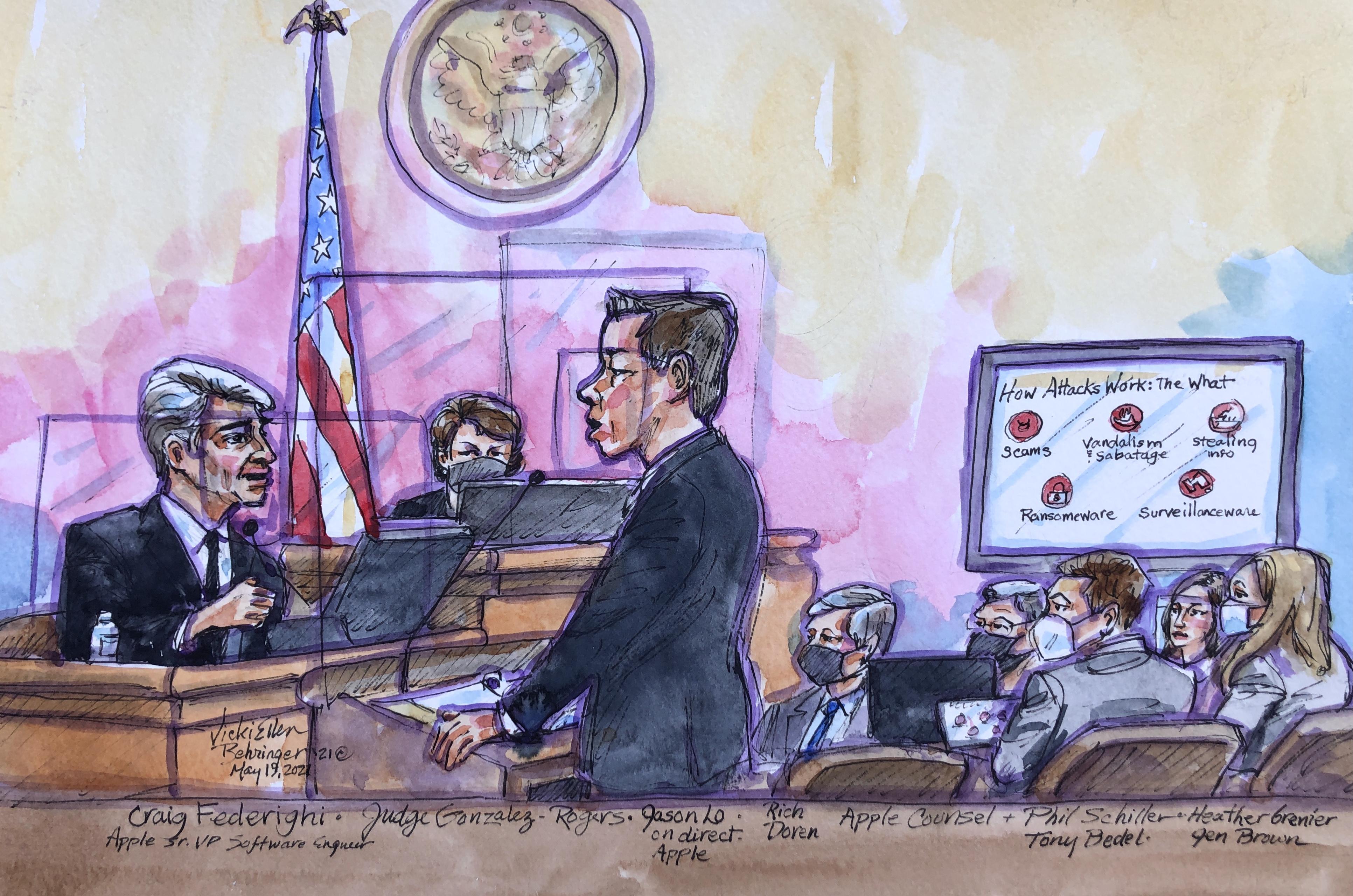 Craig Federighi addresses the court