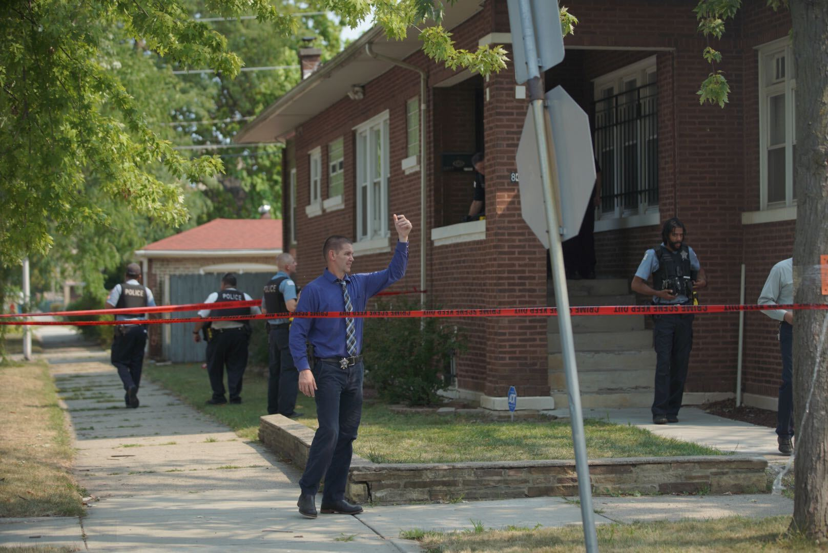 Police investigate Saturday after a boy was killed in the South Chicago neighborhood.