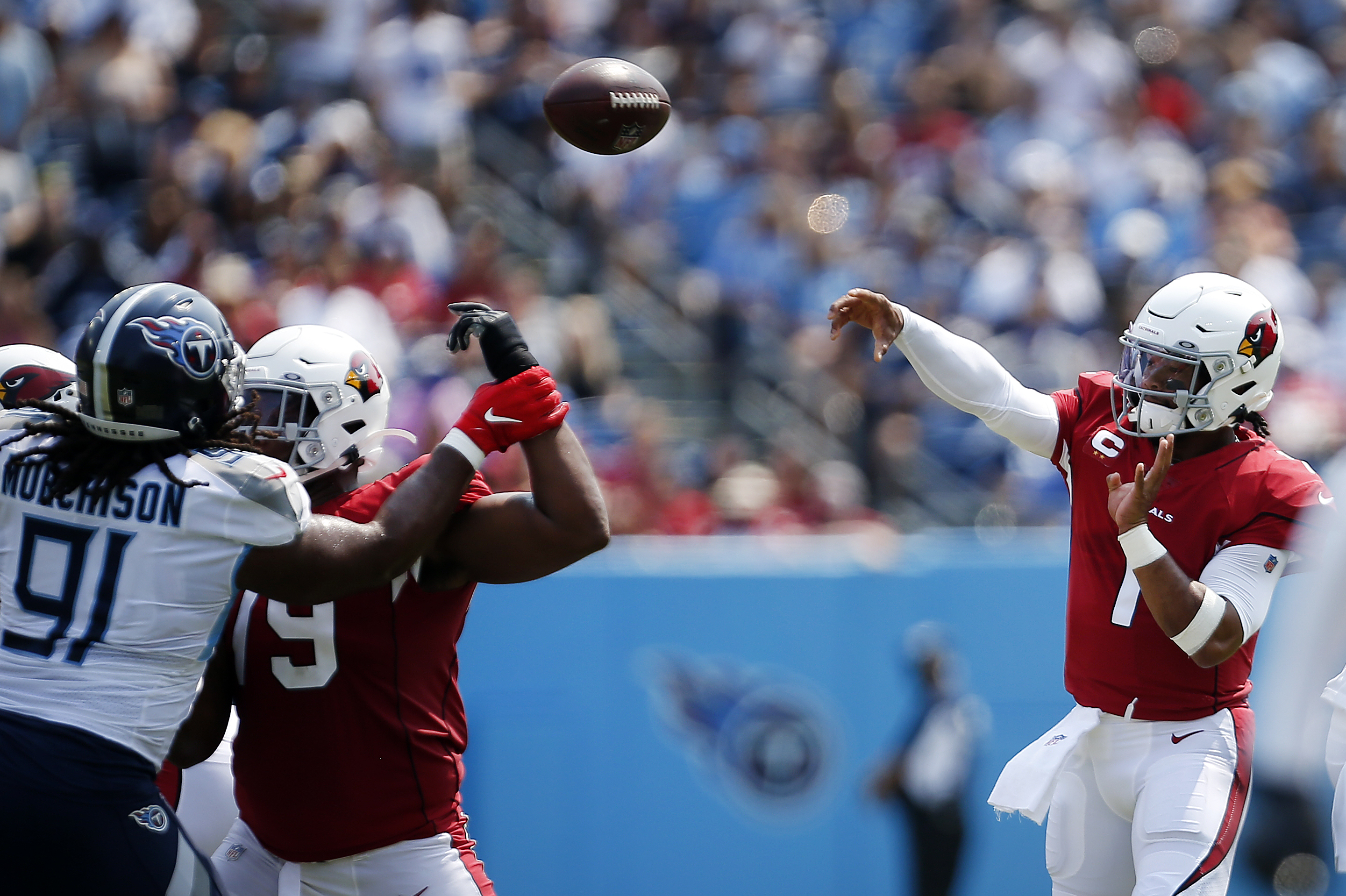 Kyler Murray #1 of the Arizona Cardinals throws a pass against the Tennessee Titans during the first quarter at Nissan Stadium on September 12, 2021 in Nashville, Tennessee.