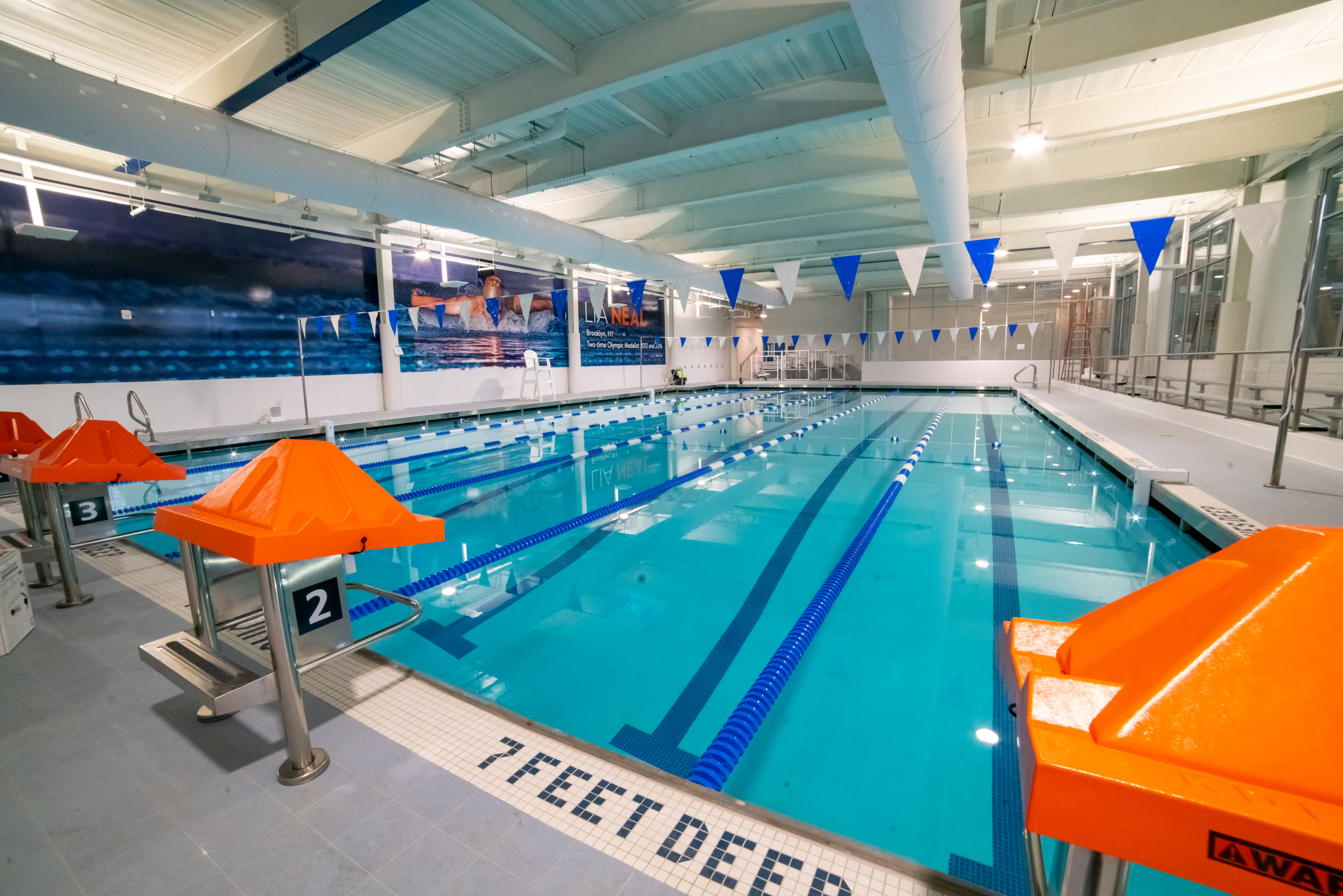 The swimming pool of the CAREY GABAY RECREATION CENTER in Crown Height's former Bedford Union Armory, part of a controversial residential development.