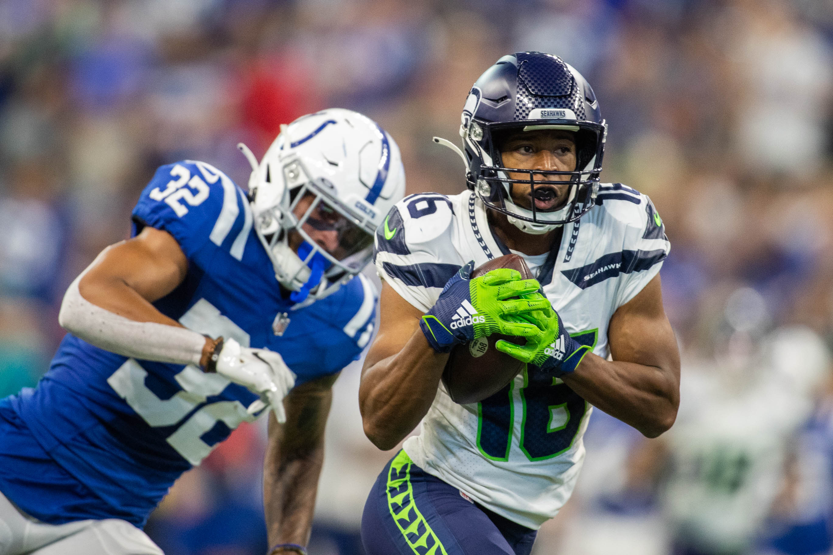 Seattle Seahawks wide receiver Tyler Lockett (16) catches the ball in the second quarter against the Indianapolis Colts at Lucas Oil Stadium.