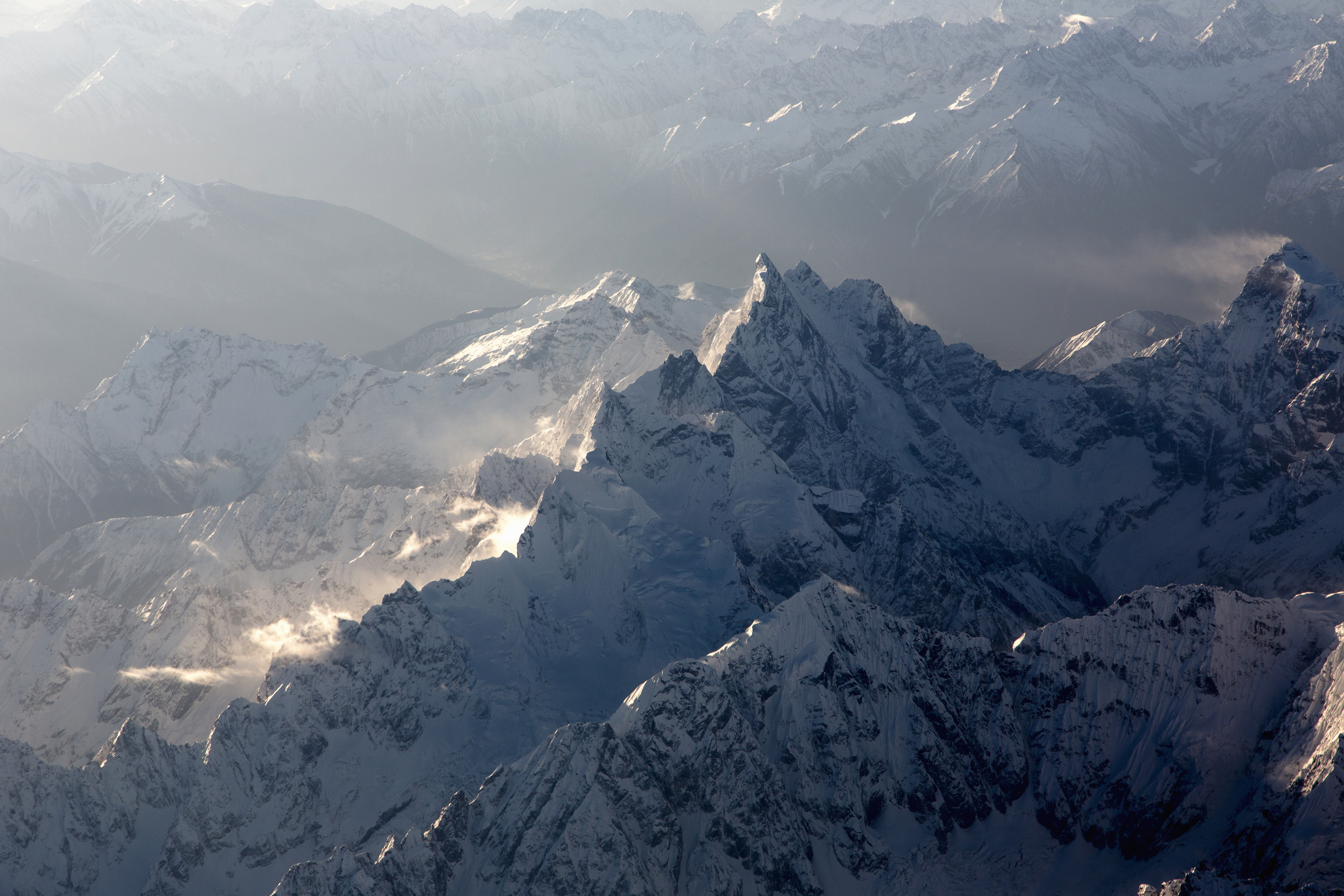 Aerial view of the rugged Hengduan Mountains of Tibet.