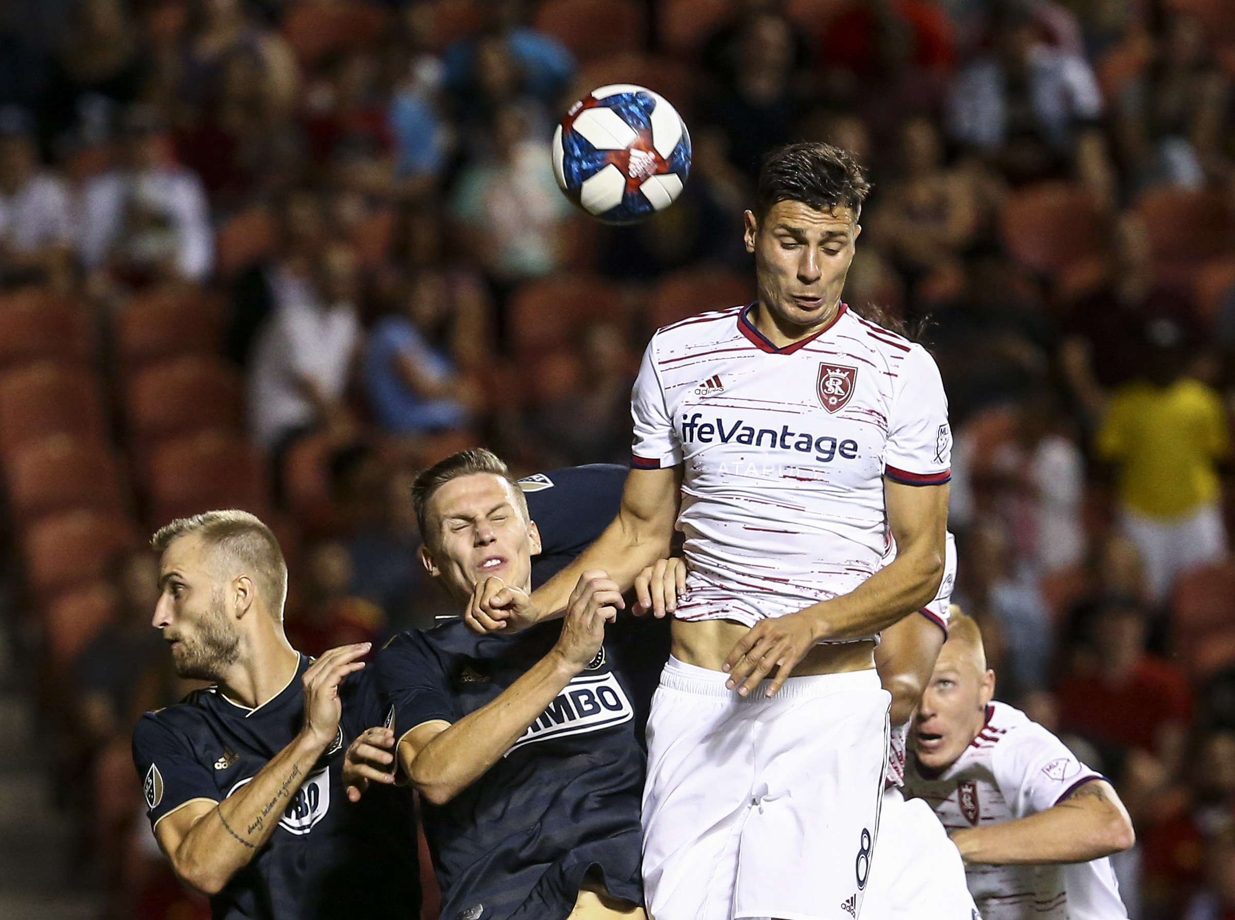 Real Salt Lake midfielder Damir Kreilach (8) takes the header on a corner kick during the second half of a game at Rio Tinto Stadium in Sandy on Saturday, July 13, 2019.
