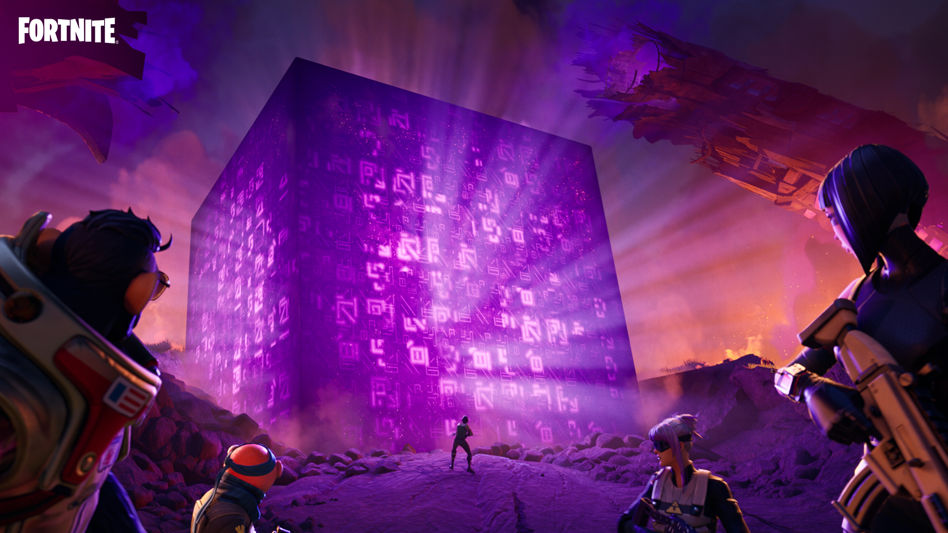Fortnite players standing in front of the Cube