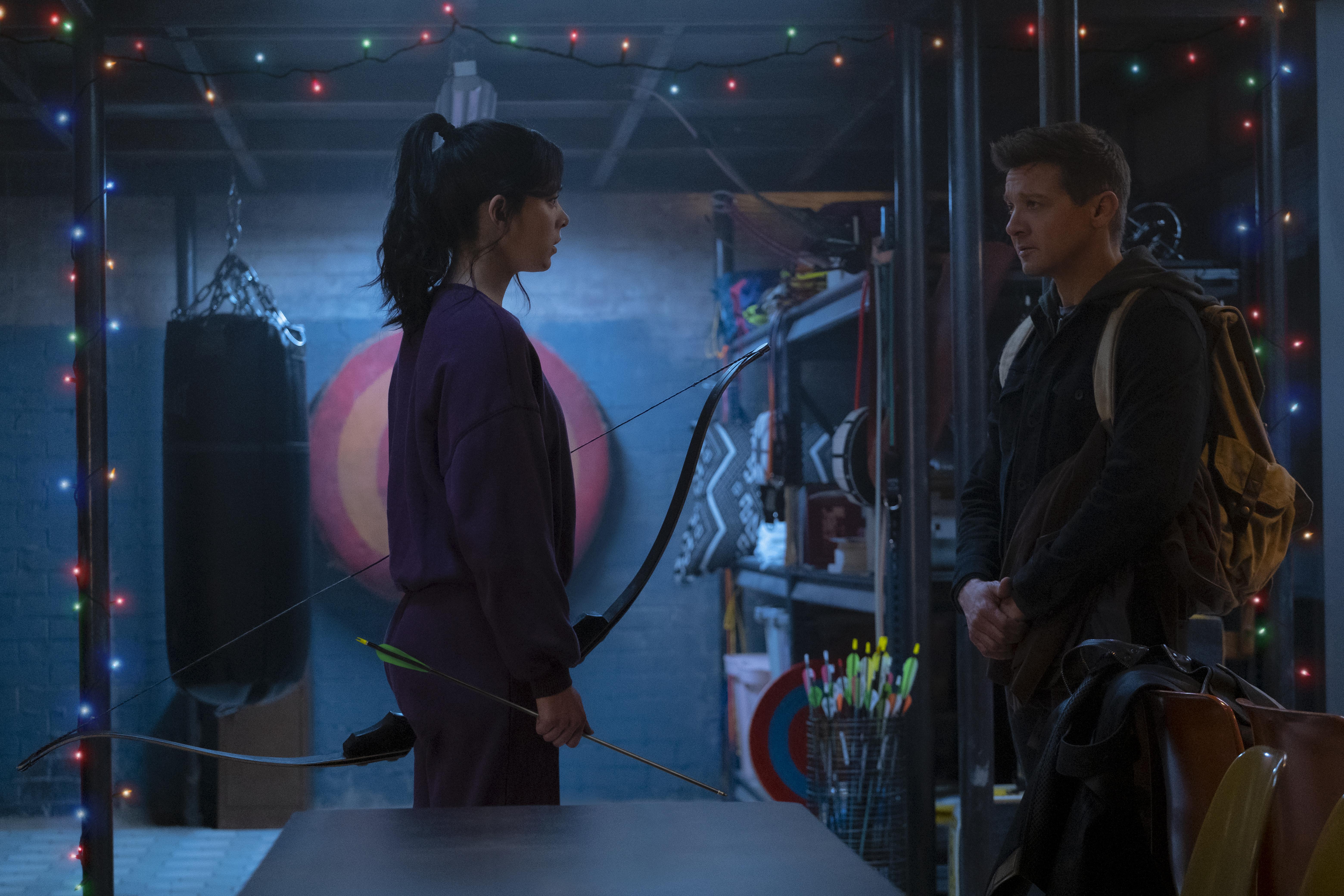 Kate Bishop and Hawkeye/Clint Barton in Marvel Studios' HAWKEYE on Disney+.