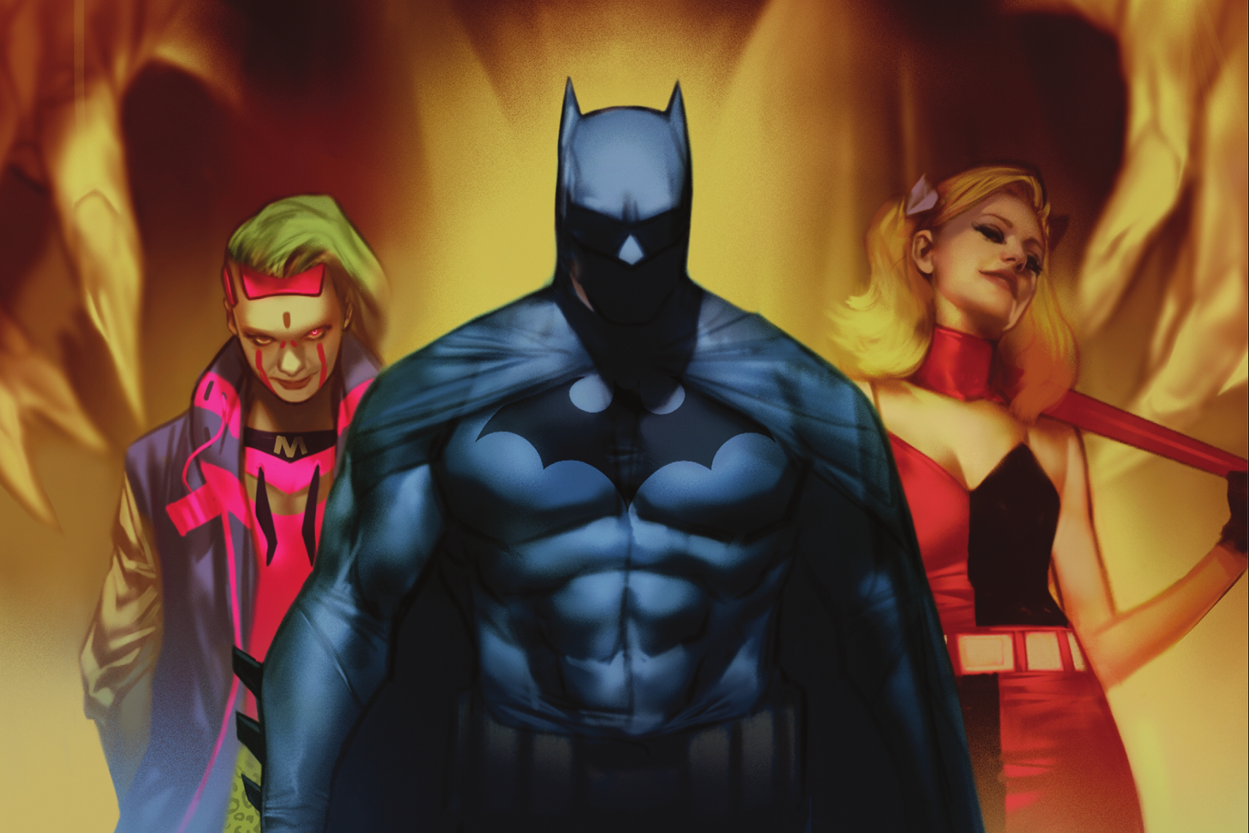 Batman, Harley Quinn, and Miracle Molly on the cover of Batman: Fear State Alpha #1 (2021).