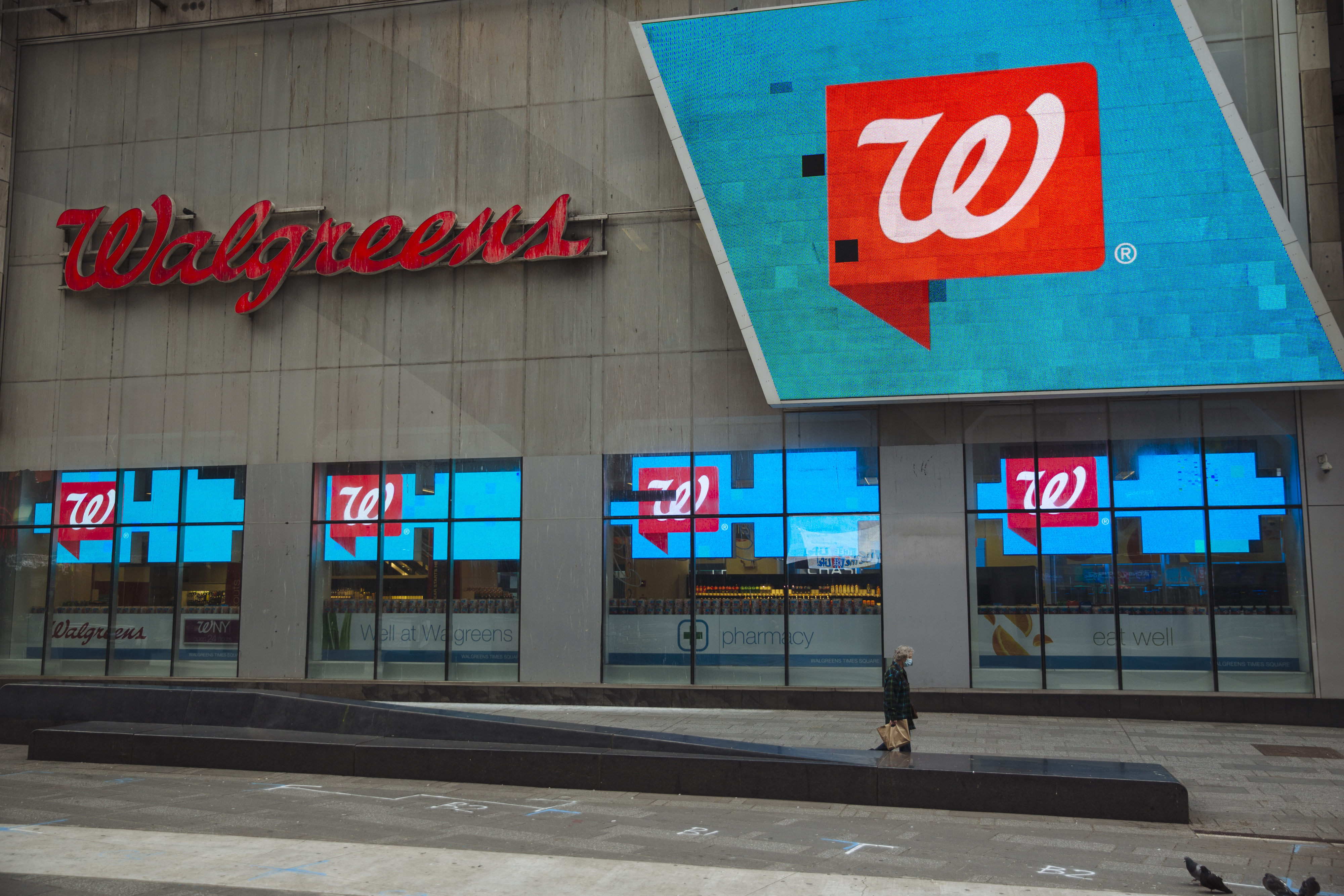 The exterior of a Walgreens store in Times Square, New York.