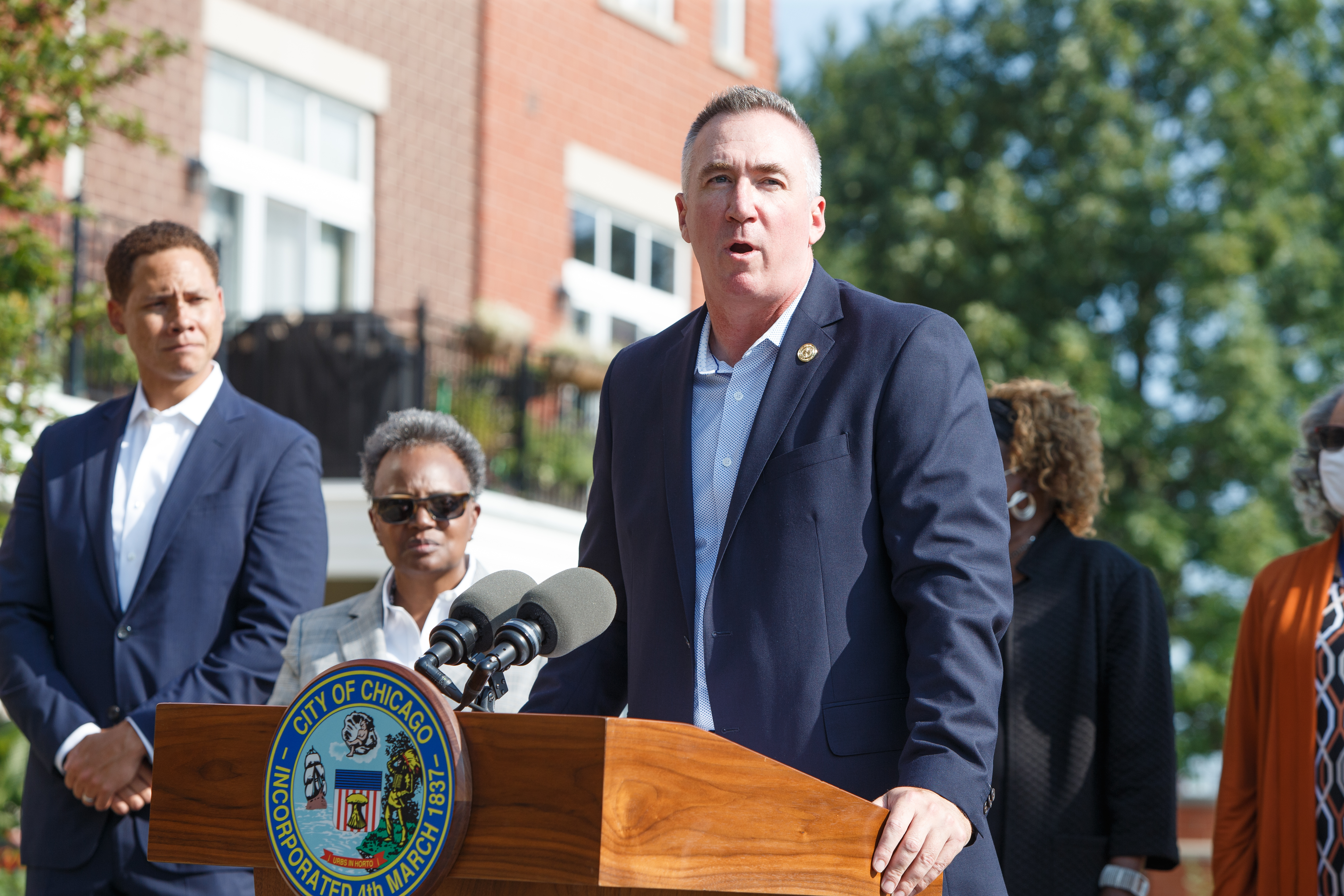Michael Kelly, General Superintendent and CEO of the Chicago Parks District speaks at the ribbon cutting ceremony of the completion of the bridge replacement project at Irving Park Road in the North Center neighborhood, Friday morning, Sept. 10, 2021. Mark Capapas/Sun-Times