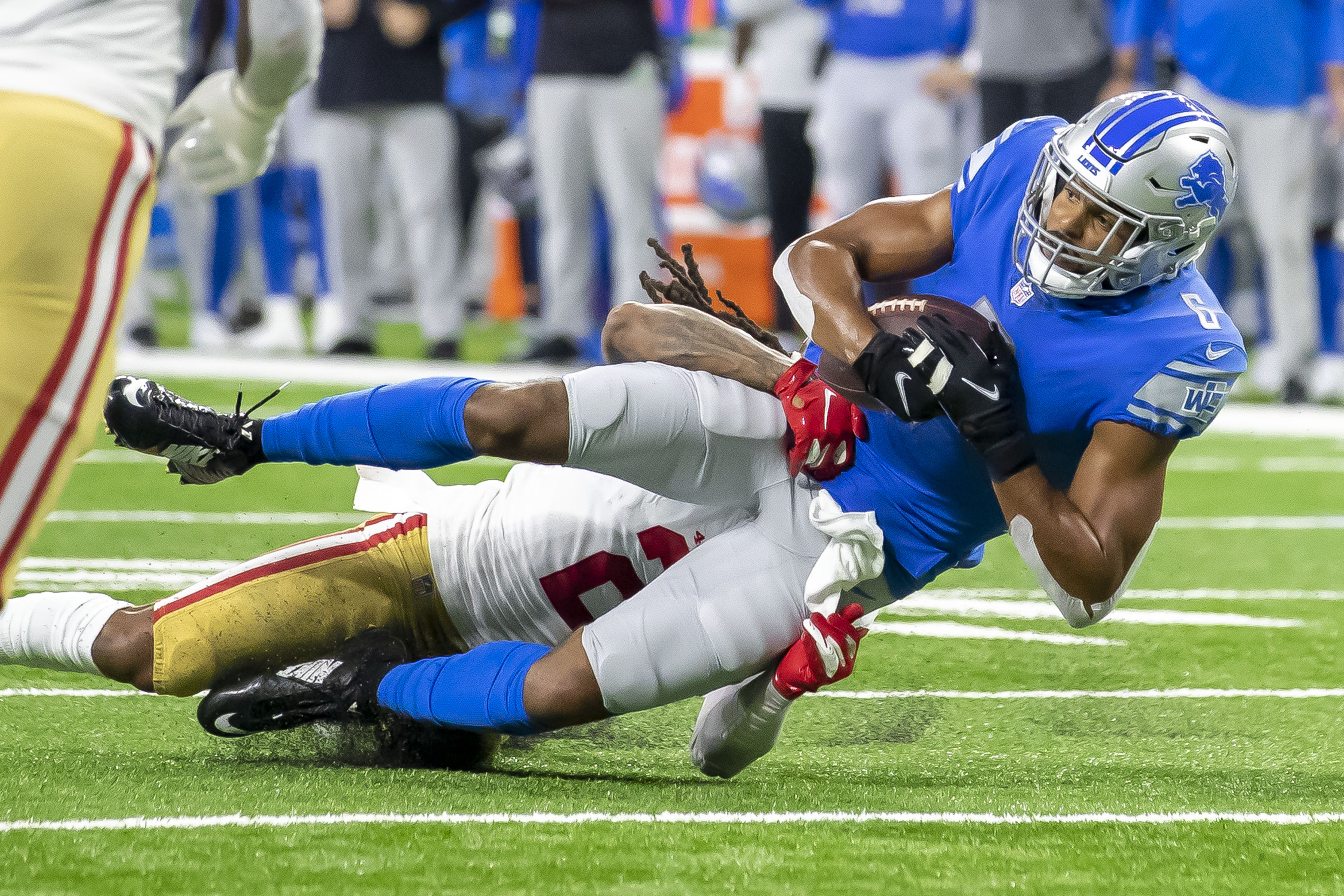 Detroit Lions wide receiver Tyrell Williams (6) catches the ball for a first down in the first quarter against the San Francisco 49ers at Ford Field.