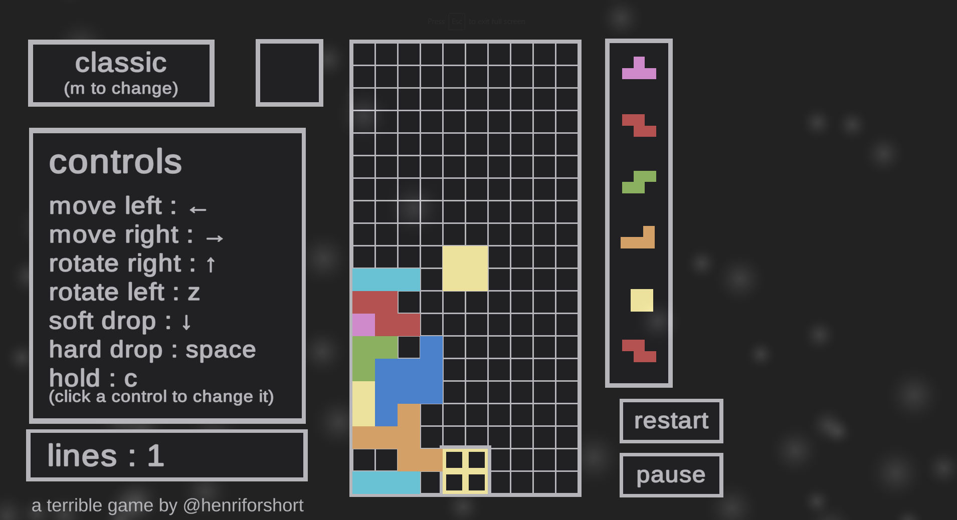 Tetrible - A Tetris version, except every time the player completes a line, the level flips
