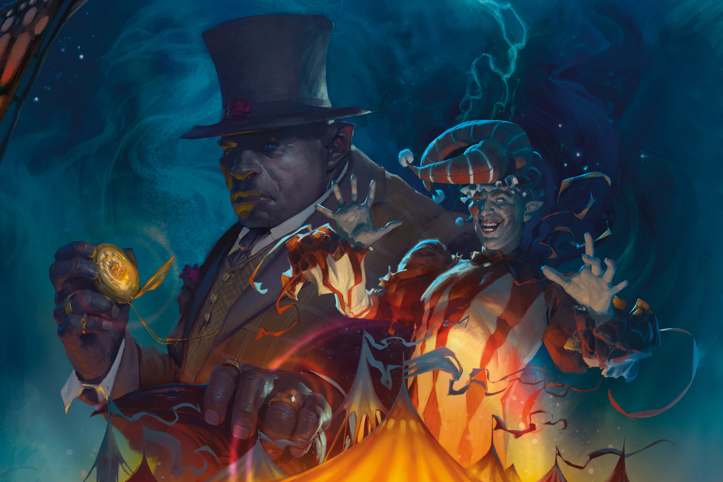 An orc in a top hat with a pocket watch stands next to a clown.